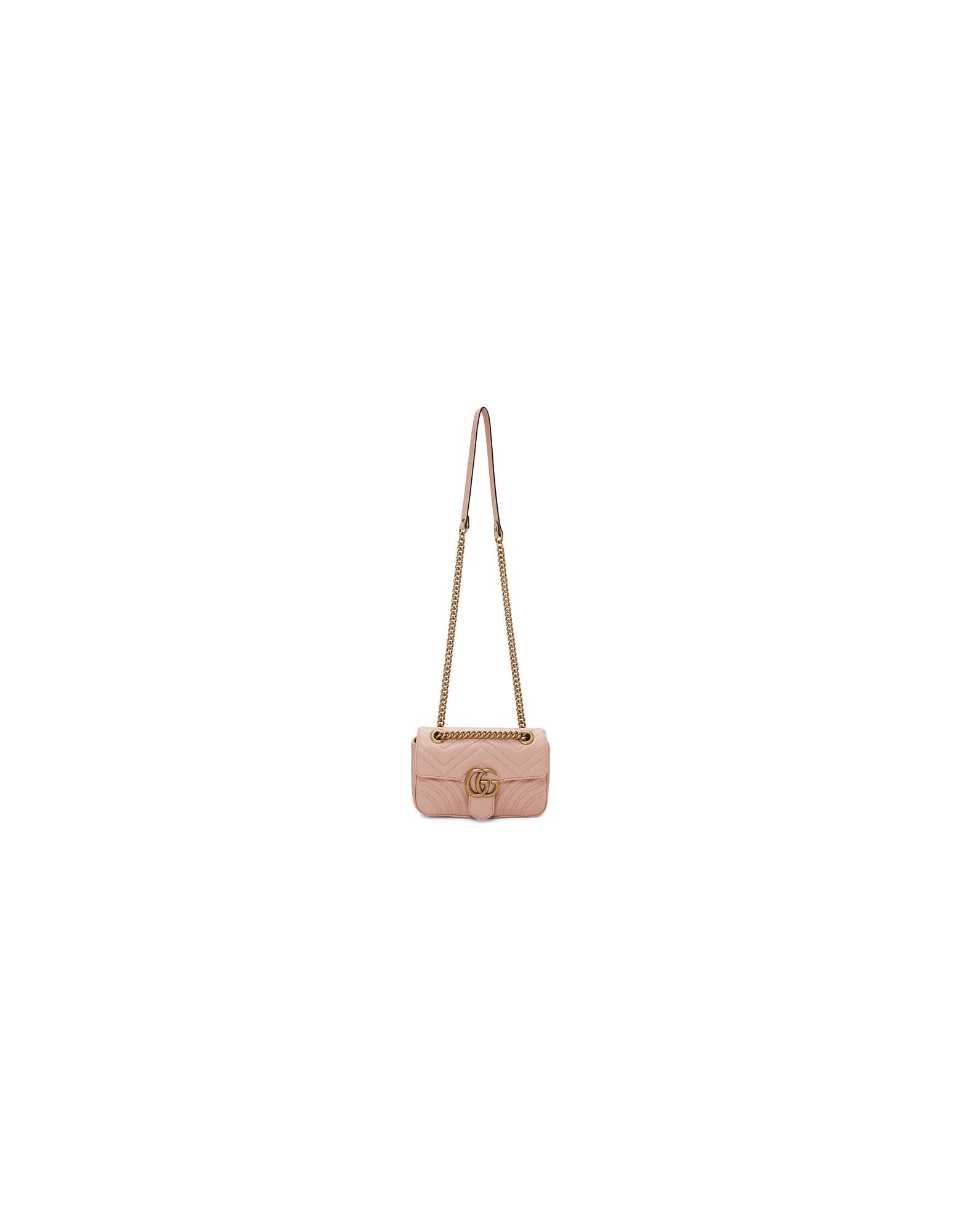 Gucci Designer Handbags, Pink Mini Marmont Bag
