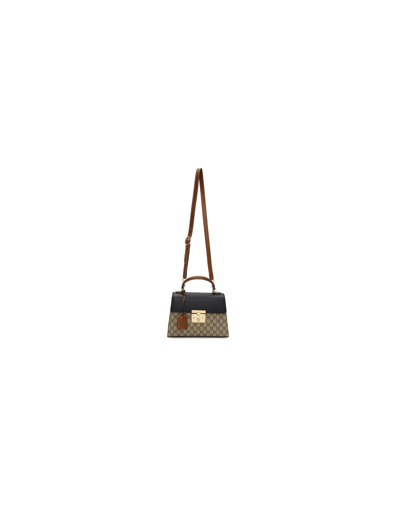 Gucci Designer Handbags, Brown Small GG Supreme Padlock Bag