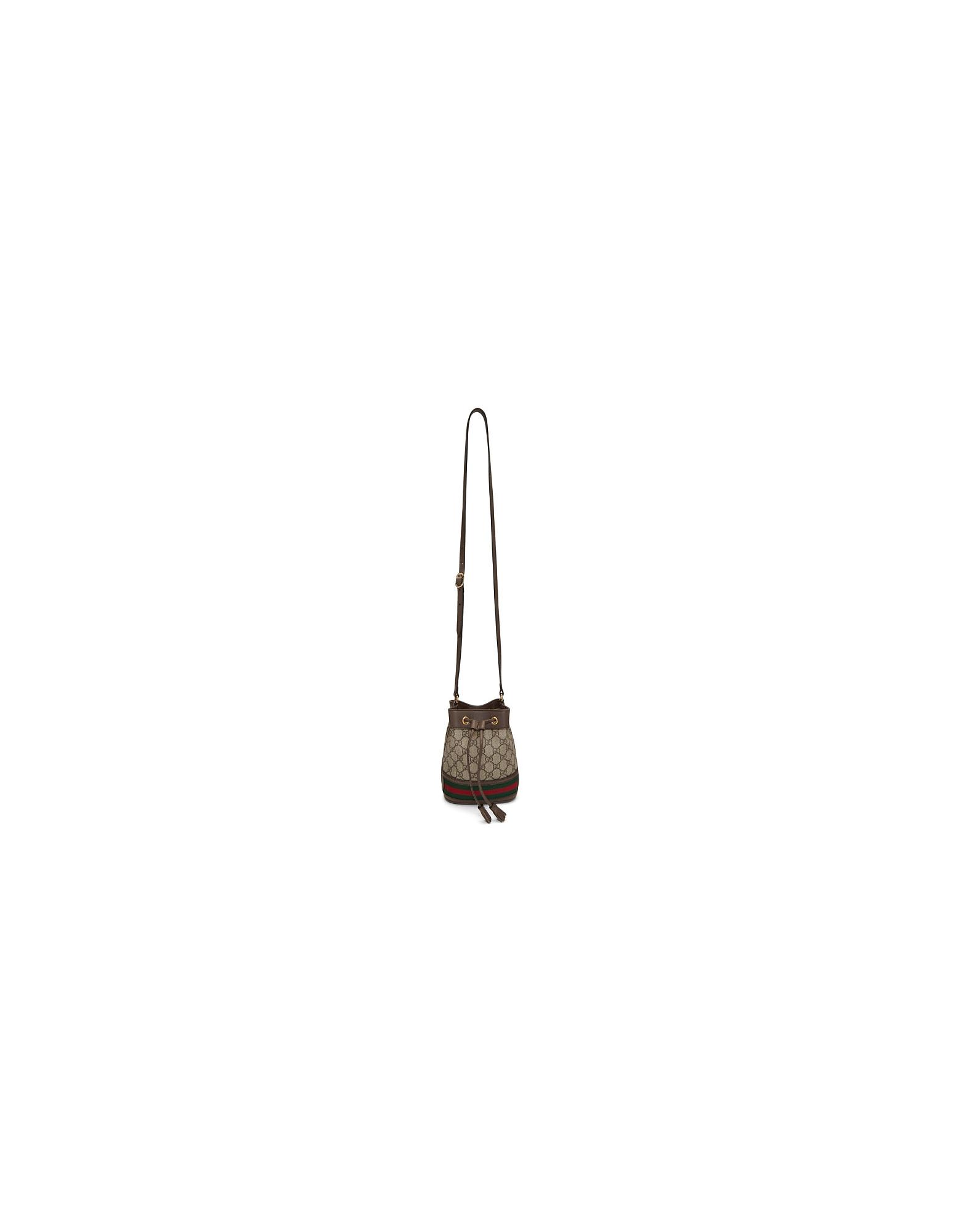 Gucci Designer Handbags, Beige Mini GG Ophidia Bucket Bag
