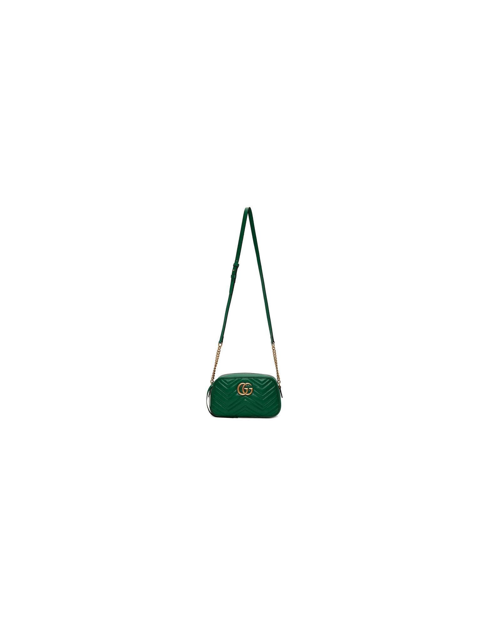 Gucci Designer Handbags, Green Small GG Marmont Camera Bag