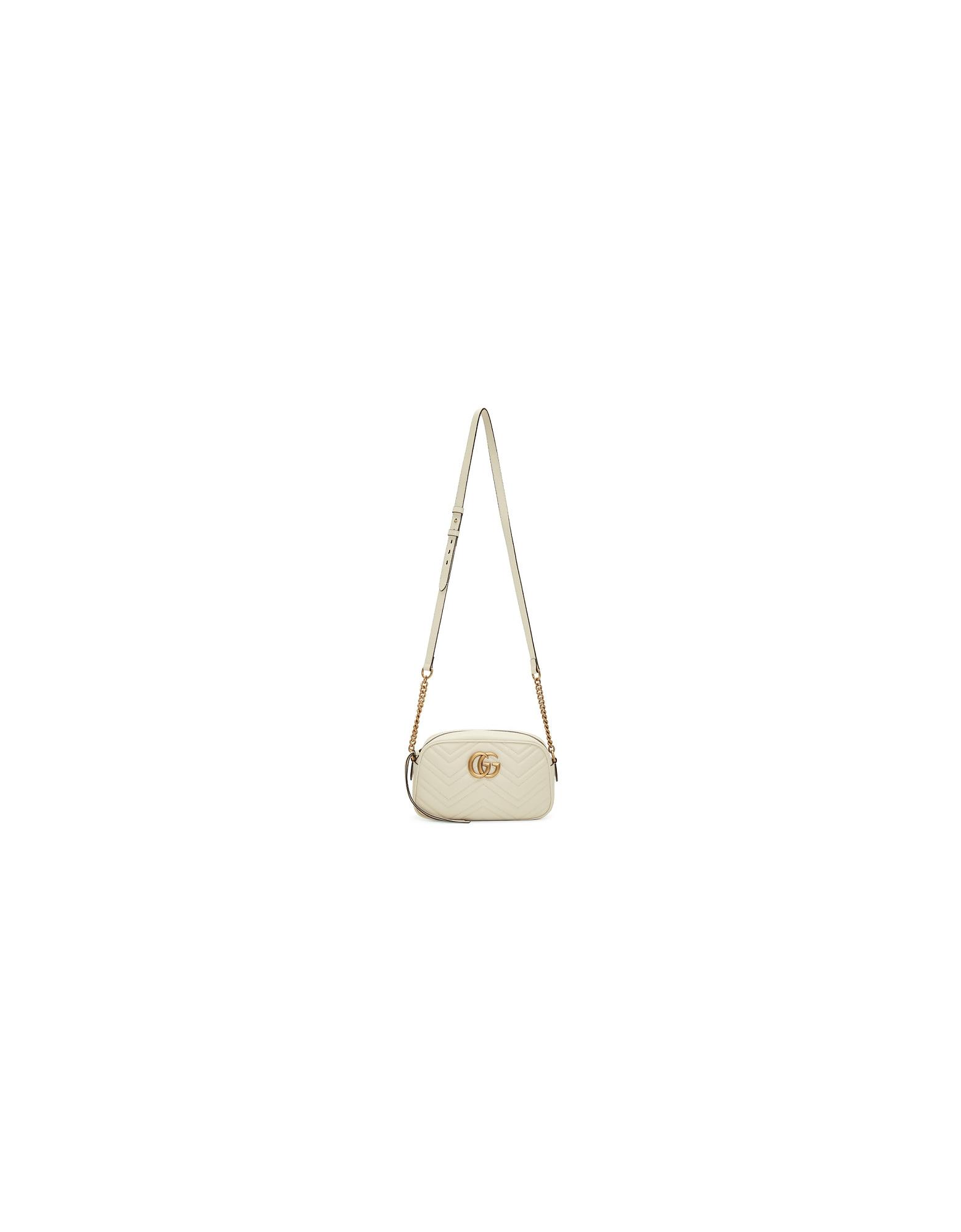 Gucci Designer Handbags, White Small GG Marmont Camera Bag