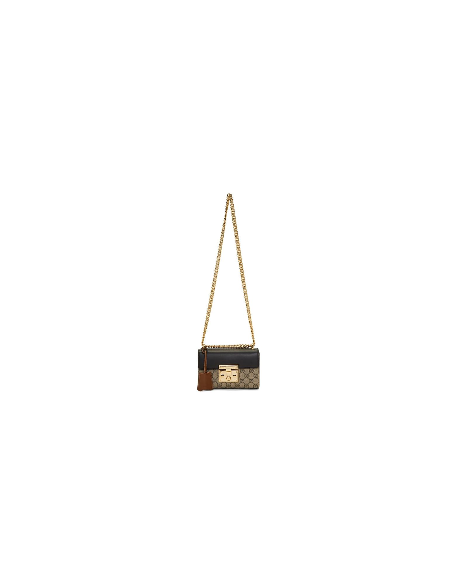 Gucci Designer Handbags, Black and Brown Small Padlock GG Shoulder Bag