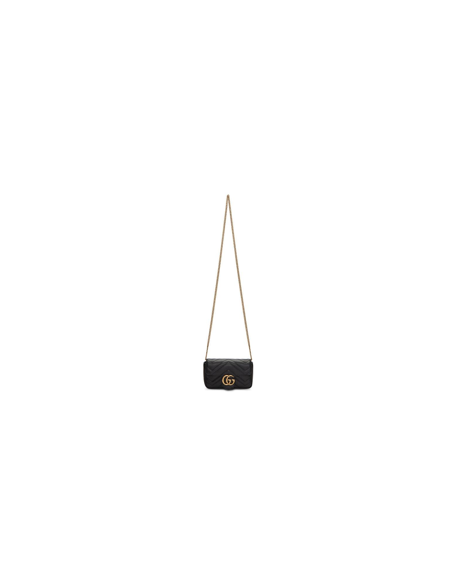 Gucci Designer Handbags, Black Super Mini GG Marmont Bag