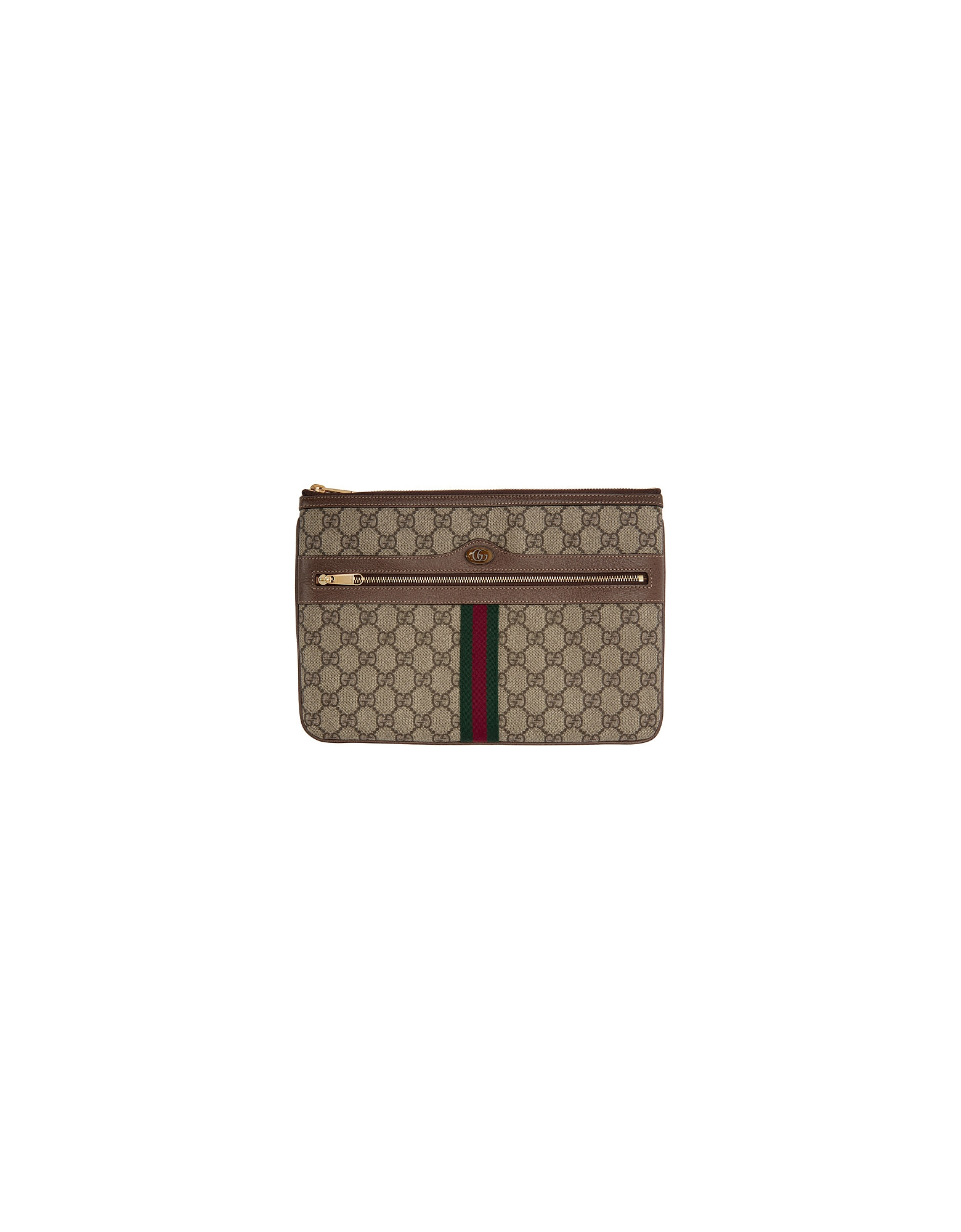 Gucci Designer Handbags, Brown GG Supreme Ophidia Pouch