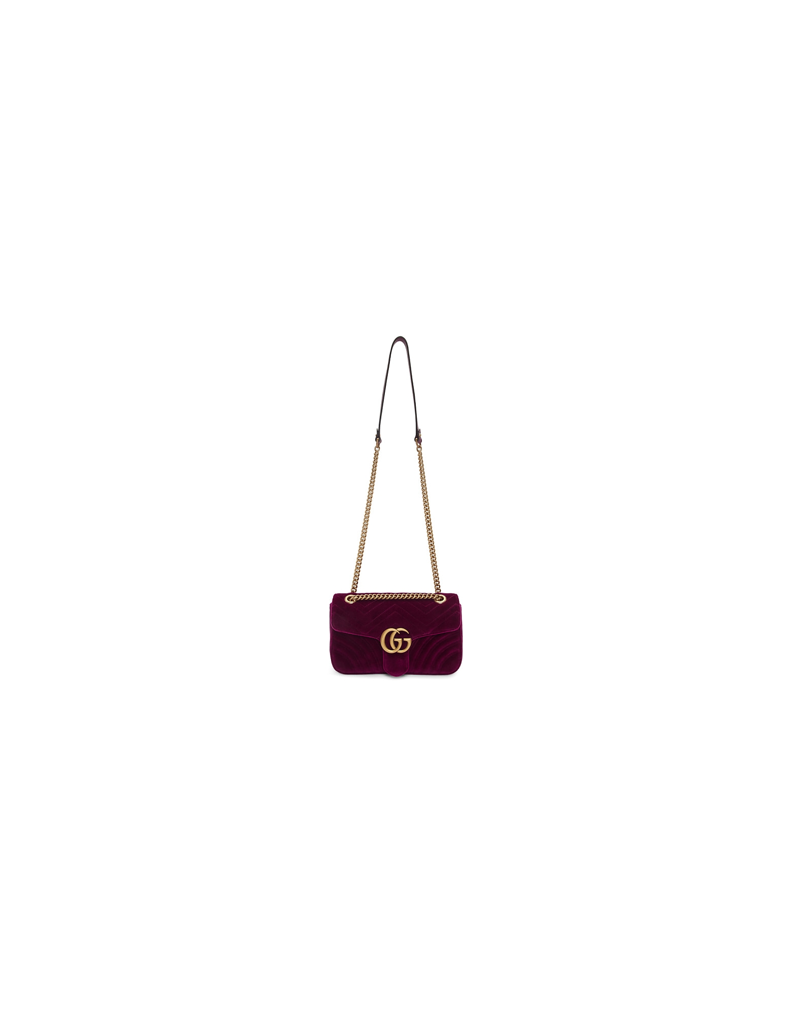Gucci Designer Handbags, Purple Small Velvet GG Marmont 2.0 Bag