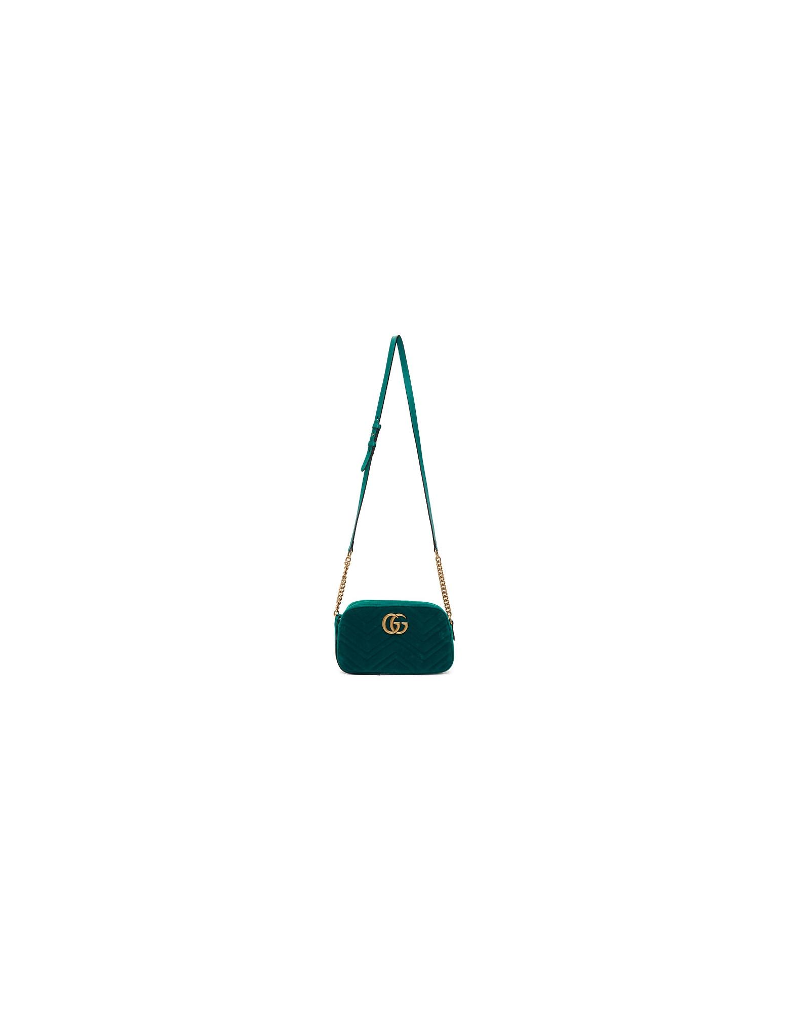 Gucci Designer Handbags, Green Velvet Small GG Marmont Shoulder Bag
