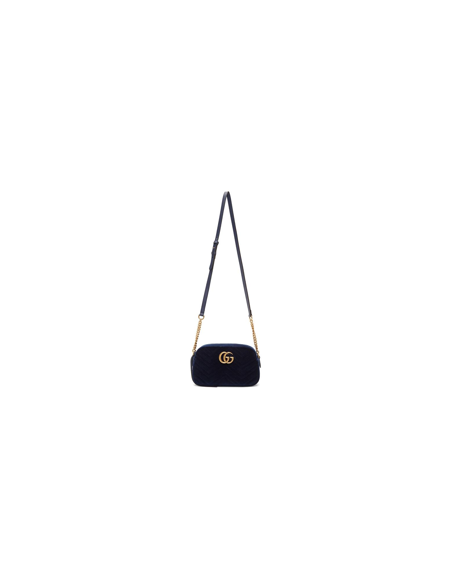 Gucci Designer Handbags, Blue Velvet Small GG Marmont 2.0 Shoulder Bag