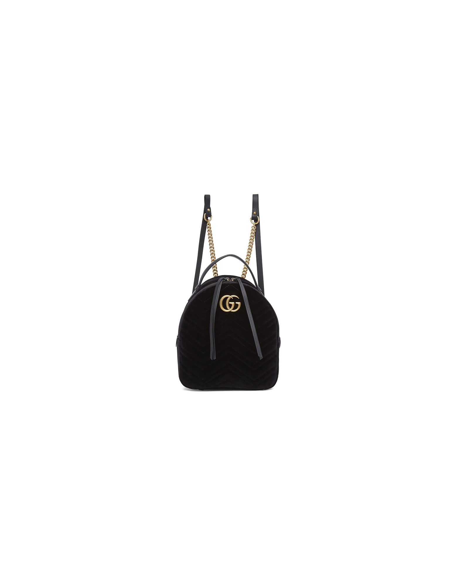Gucci Designer Handbags, Black Velvet GG Marmont 2.0 Backpack