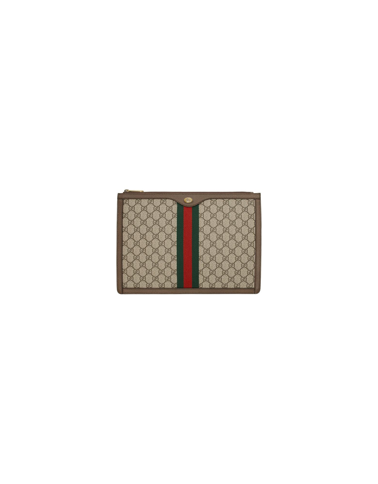 Gucci Designer Handbags, Brown GG Supreme Ophidia Portfolio