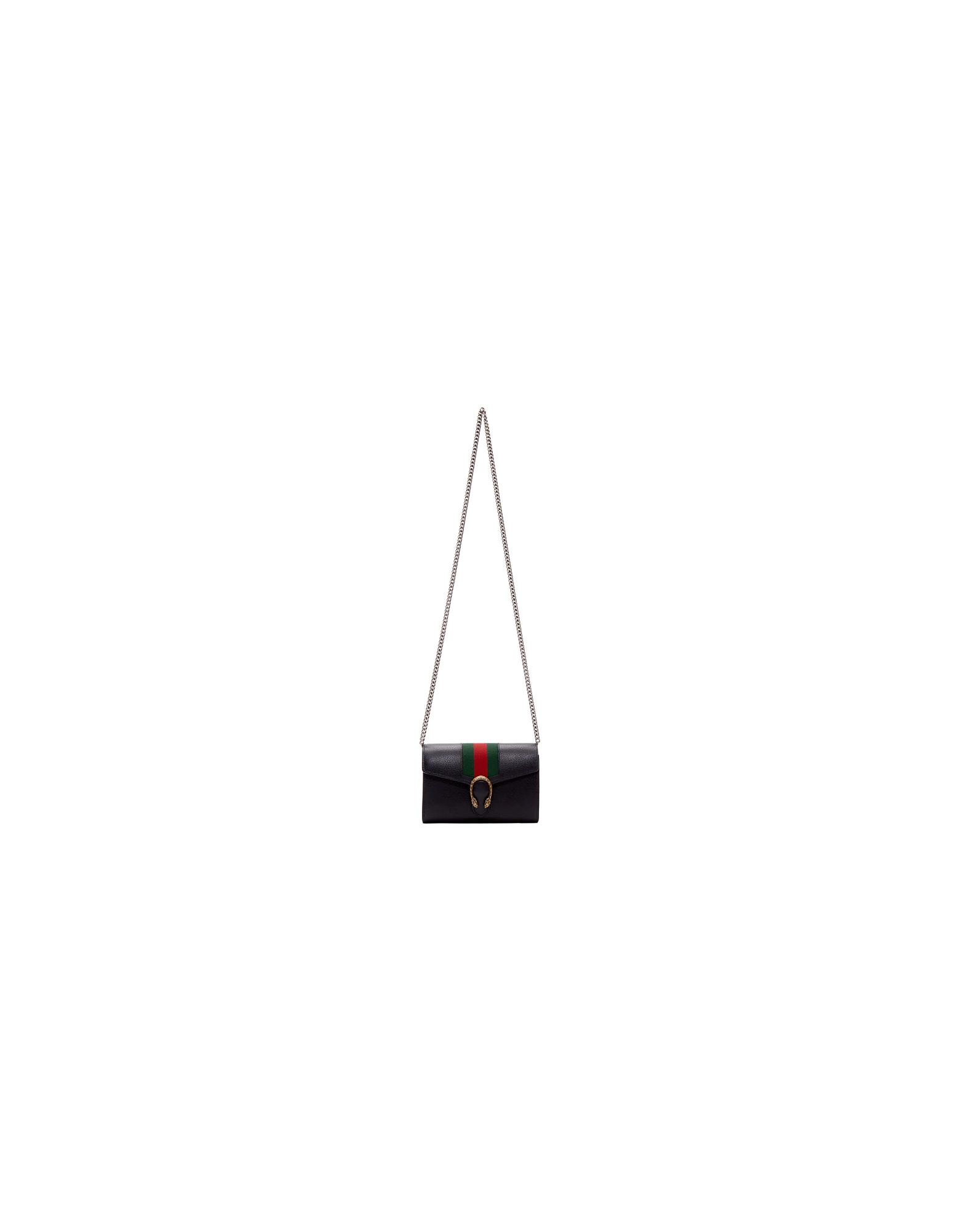Gucci Designer Handbags, Black Web Dionysus Chain Wallet Bag
