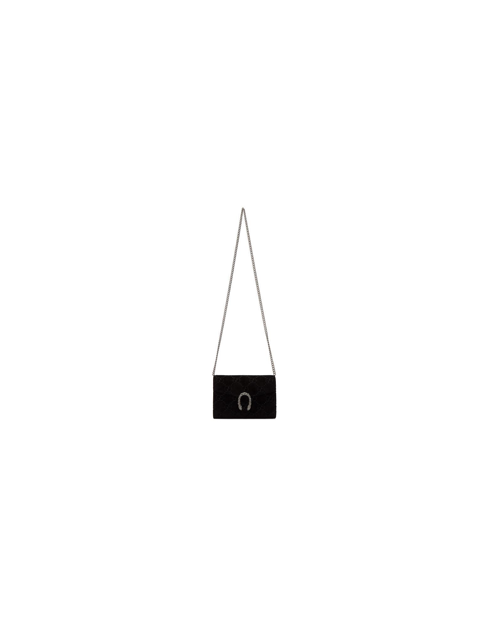 Gucci Designer Handbags, Black Velvet GG Dionysus Chain Bag