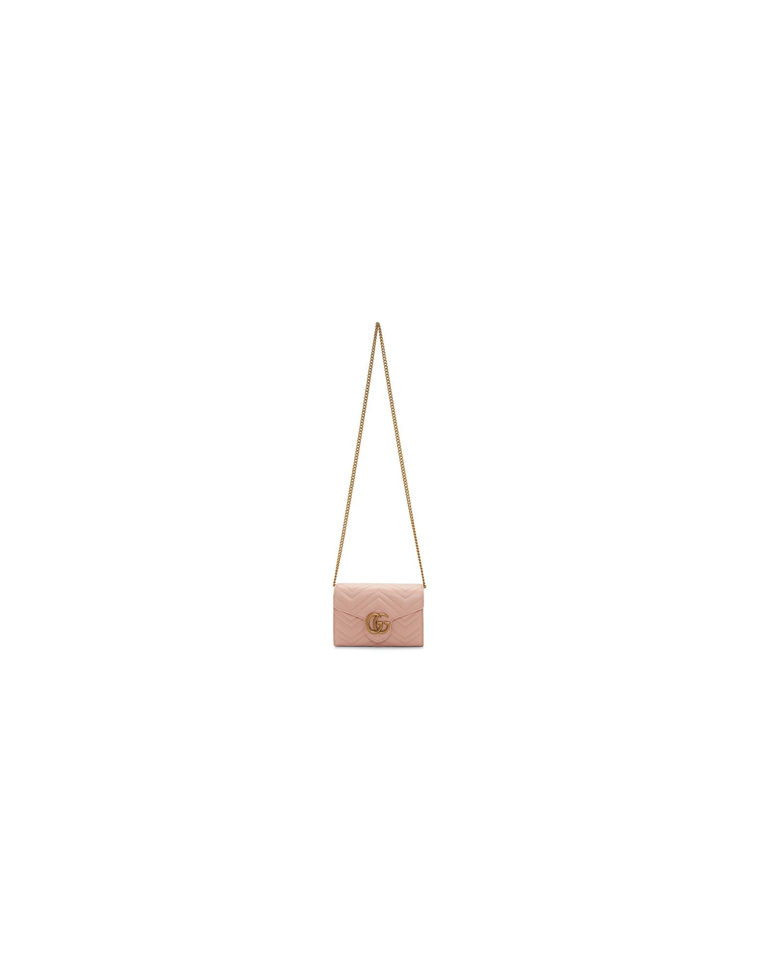 Gucci Designer Handbags, Pink Mini GG Marmont Shoulder Bag