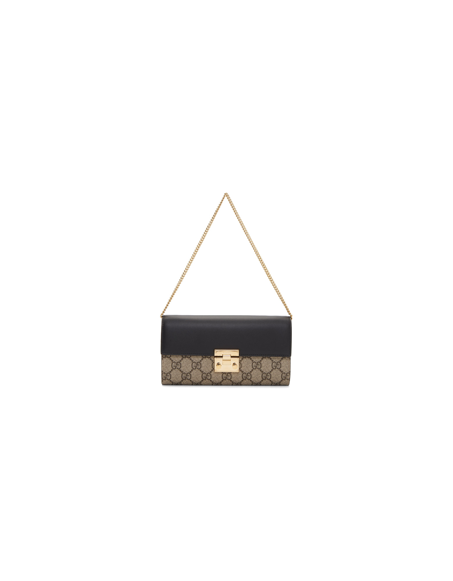 Gucci Designer Handbags, Beige and Black Padlock GG Wallet Bag