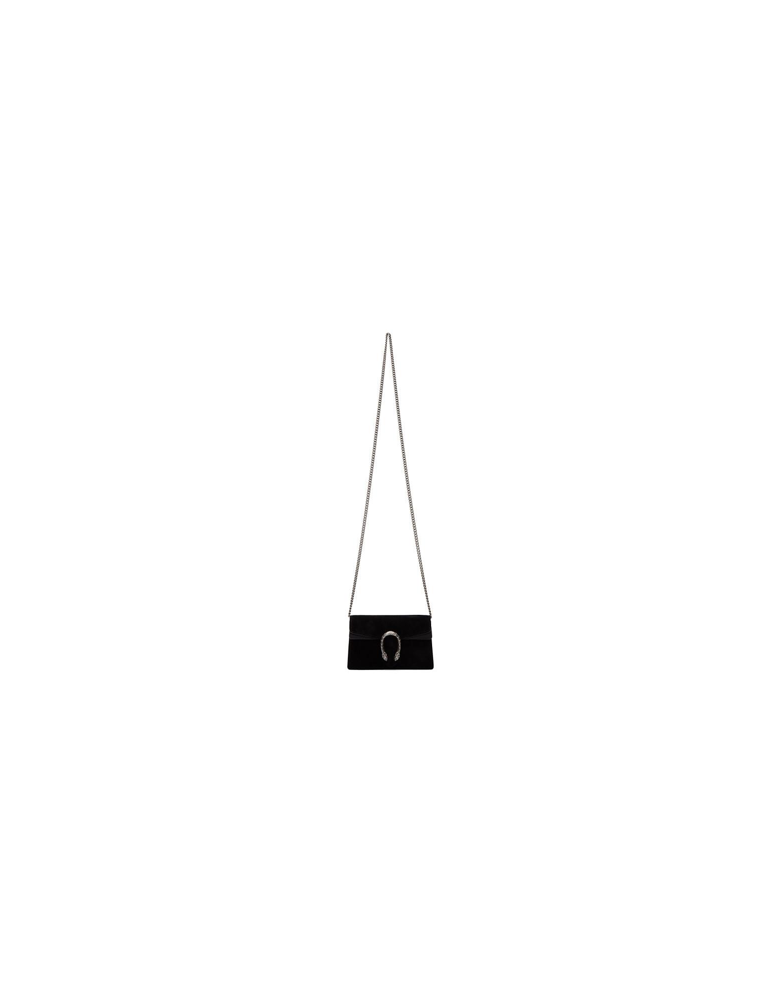 Gucci Designer Handbags, Black Suede Supermini Dionysus Chain Bag