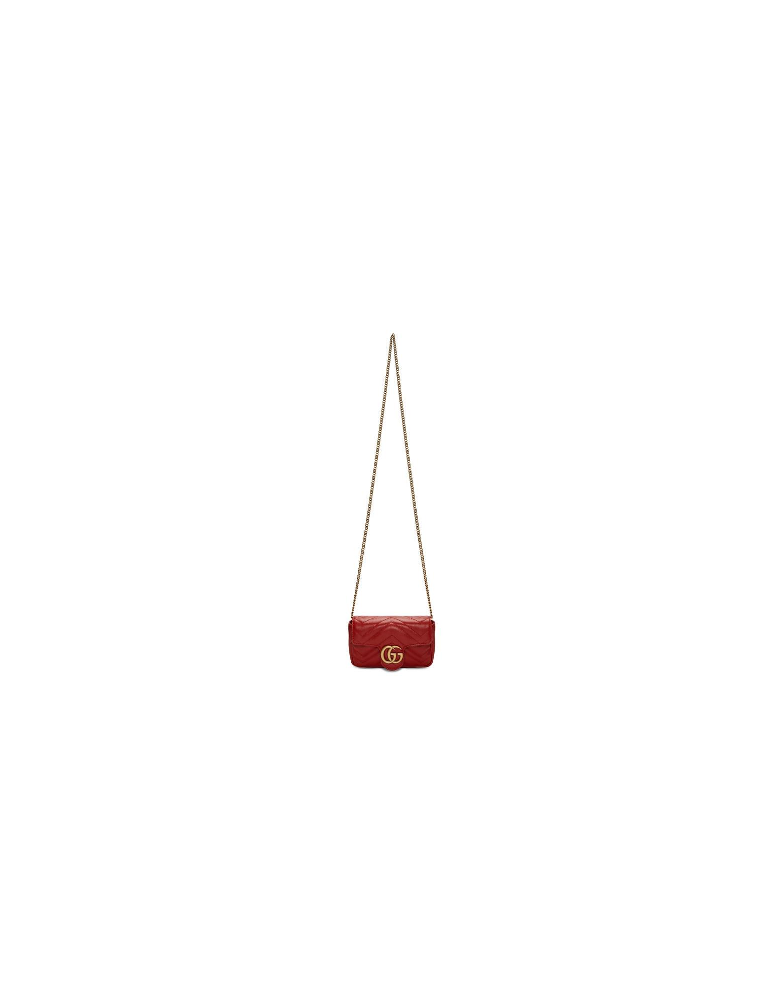Gucci Designer Handbags, Red Super Mini GG Marmont Bag