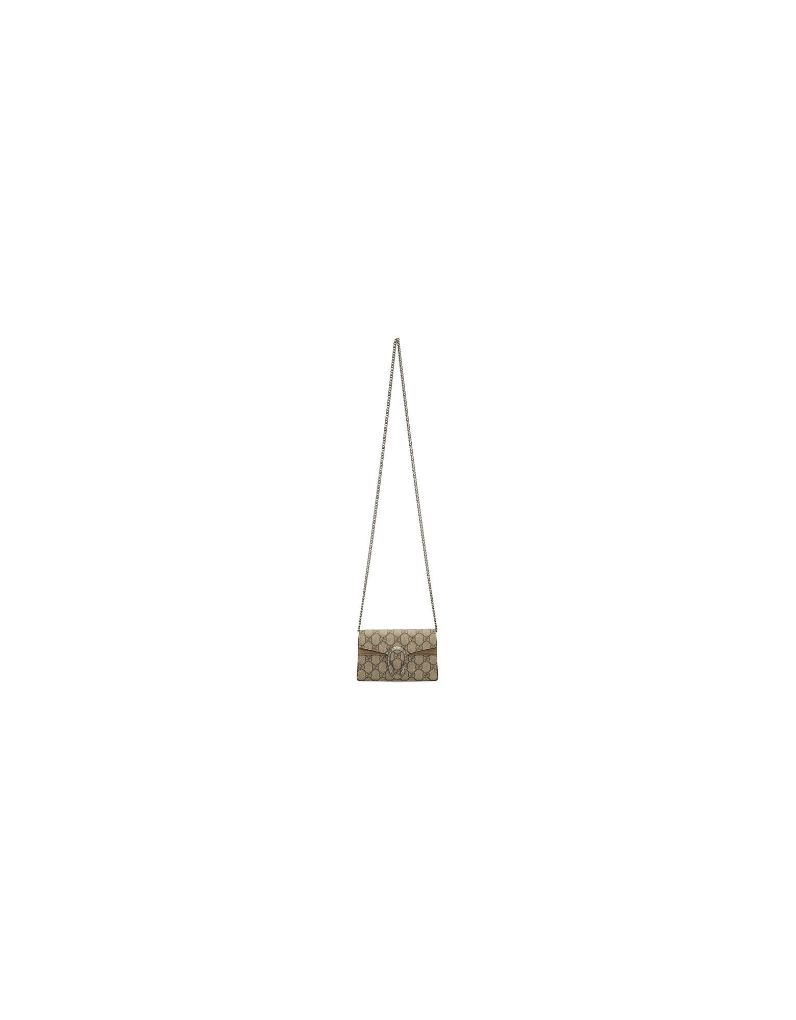 Gucci Designer Handbags, Beige GG Supreme Super Mini Dionysus Bag