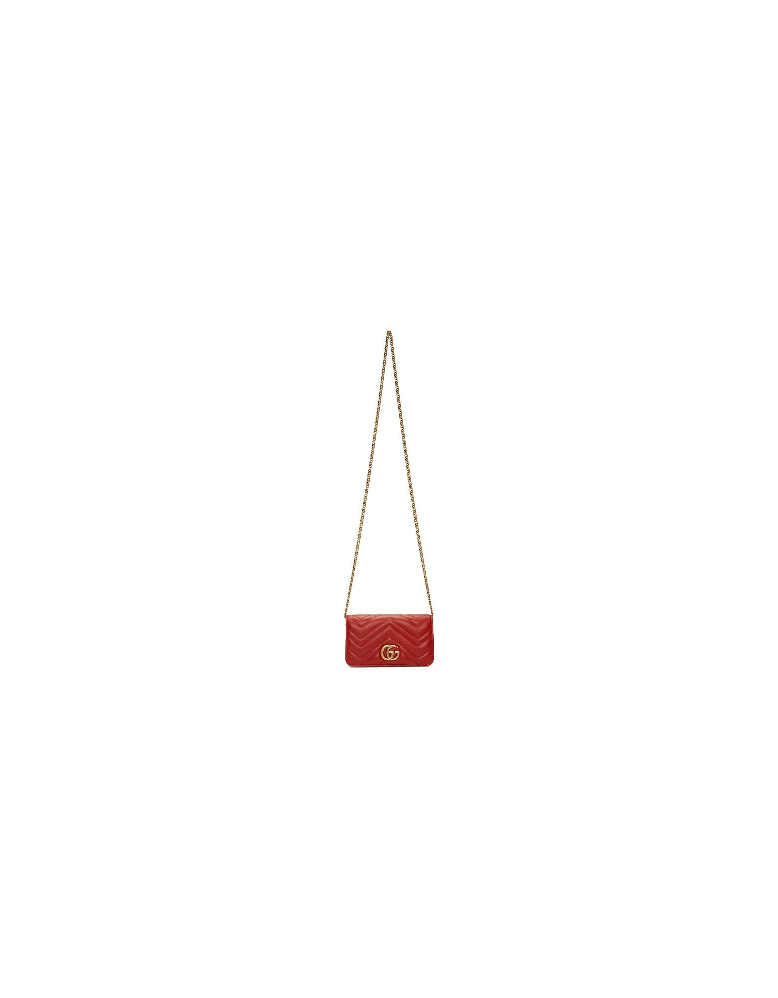 Gucci Designer Handbags, Red GG Marmont Shoulder Bag