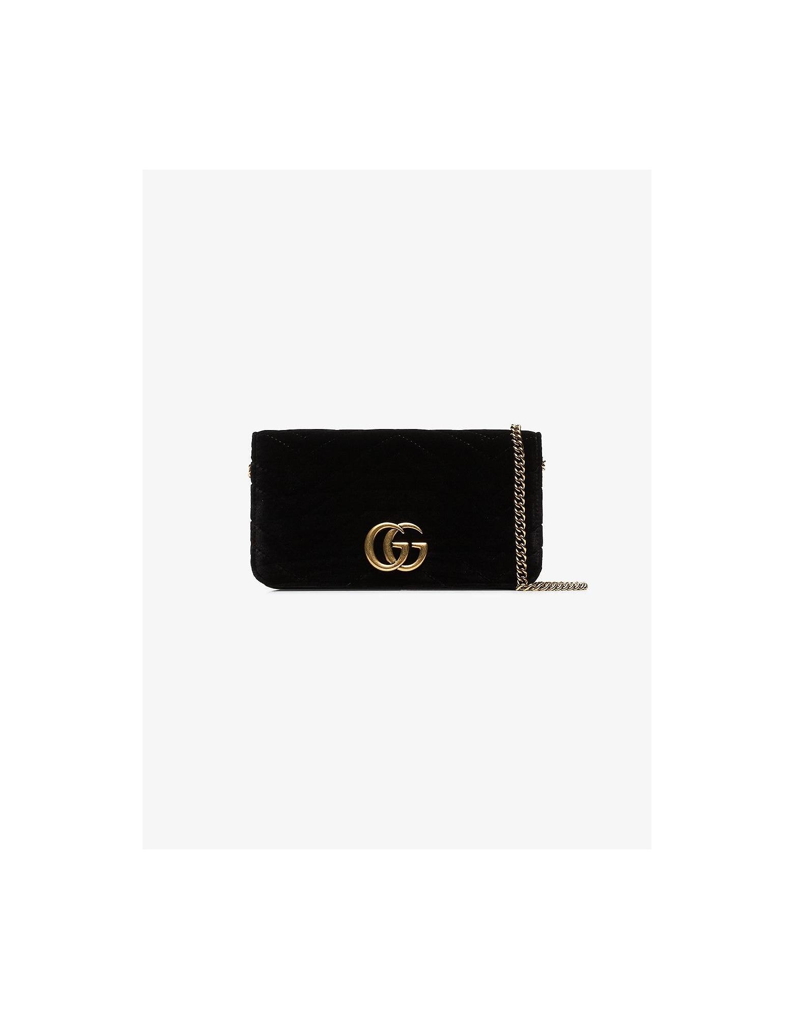 Gucci Designer Handbags, Black marmont chevron velvet clutch