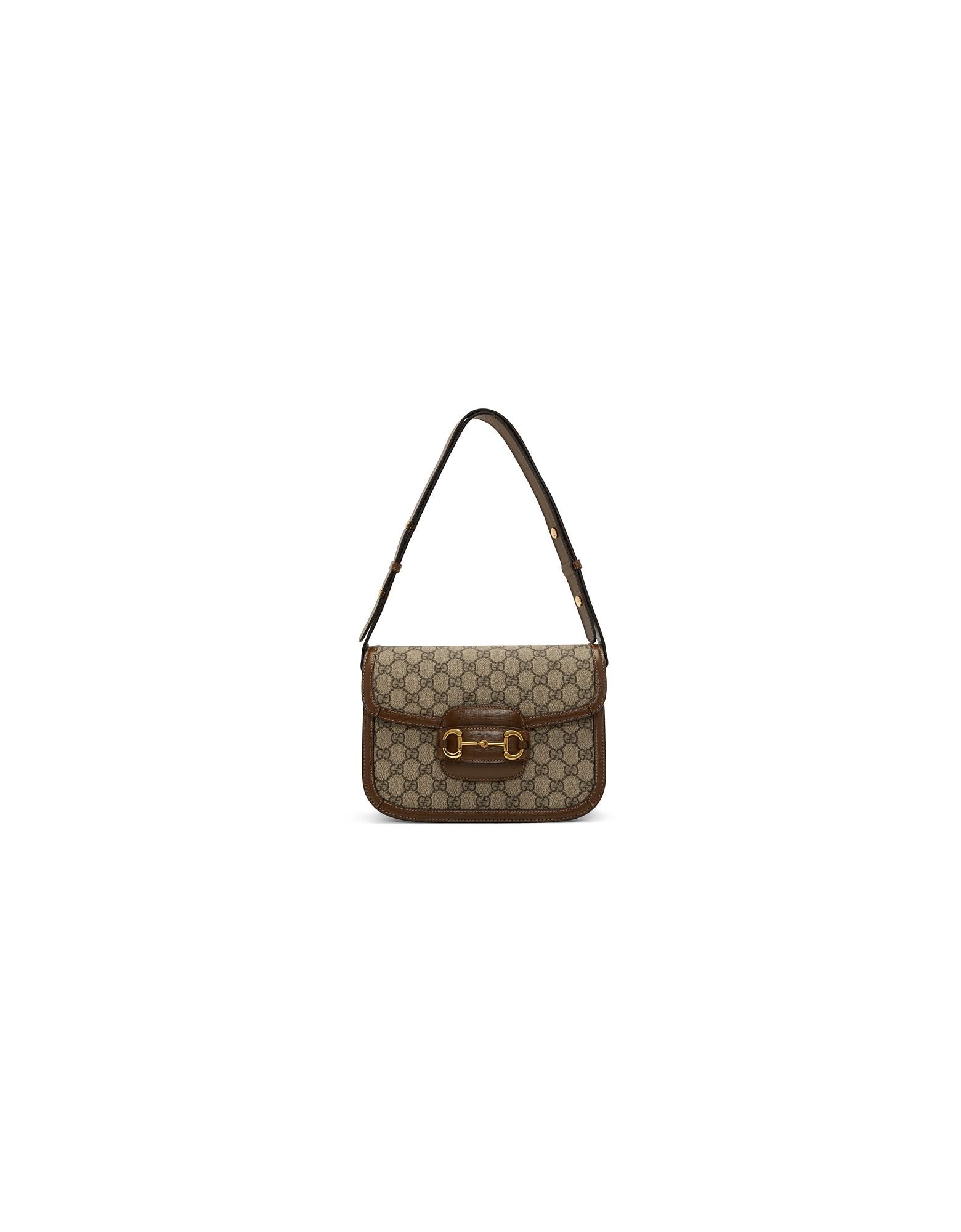 Gucci Designer Handbags, Beige and Brown GG Supreme 1955 Horsebit Shoulder Bag