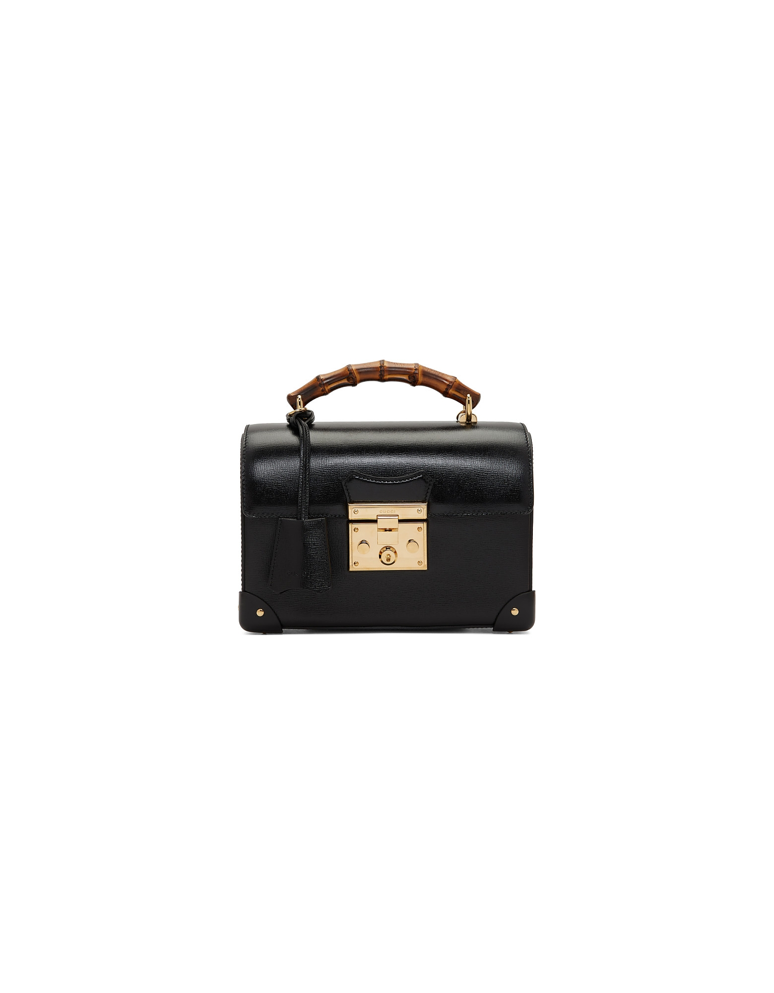 Gucci Designer Handbags, Black Small Bamboo Padlock Bag