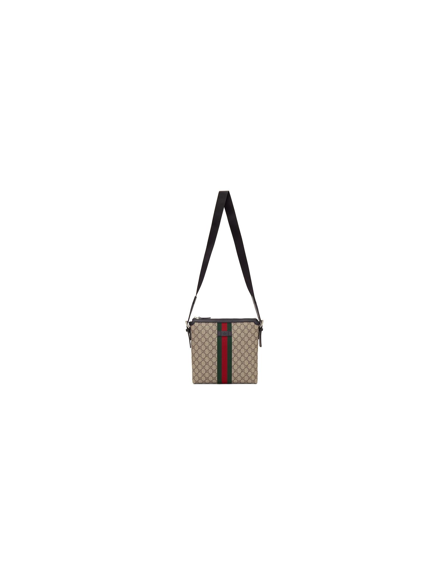 Gucci Designer Men's Bags, Beige GG Supreme Messenger Bag