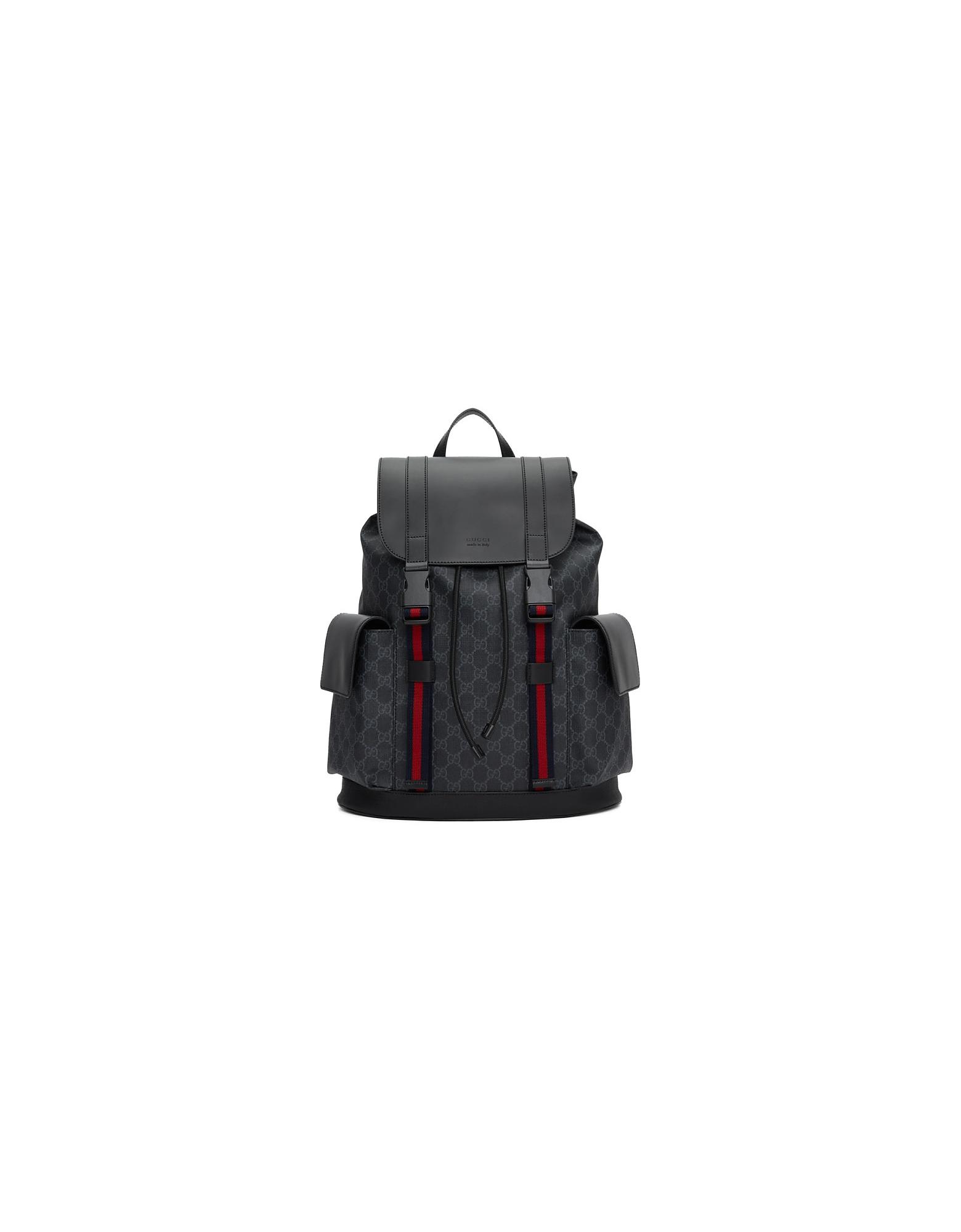 Gucci Designer Men's Bags, Black Soft GG Supreme Backpack