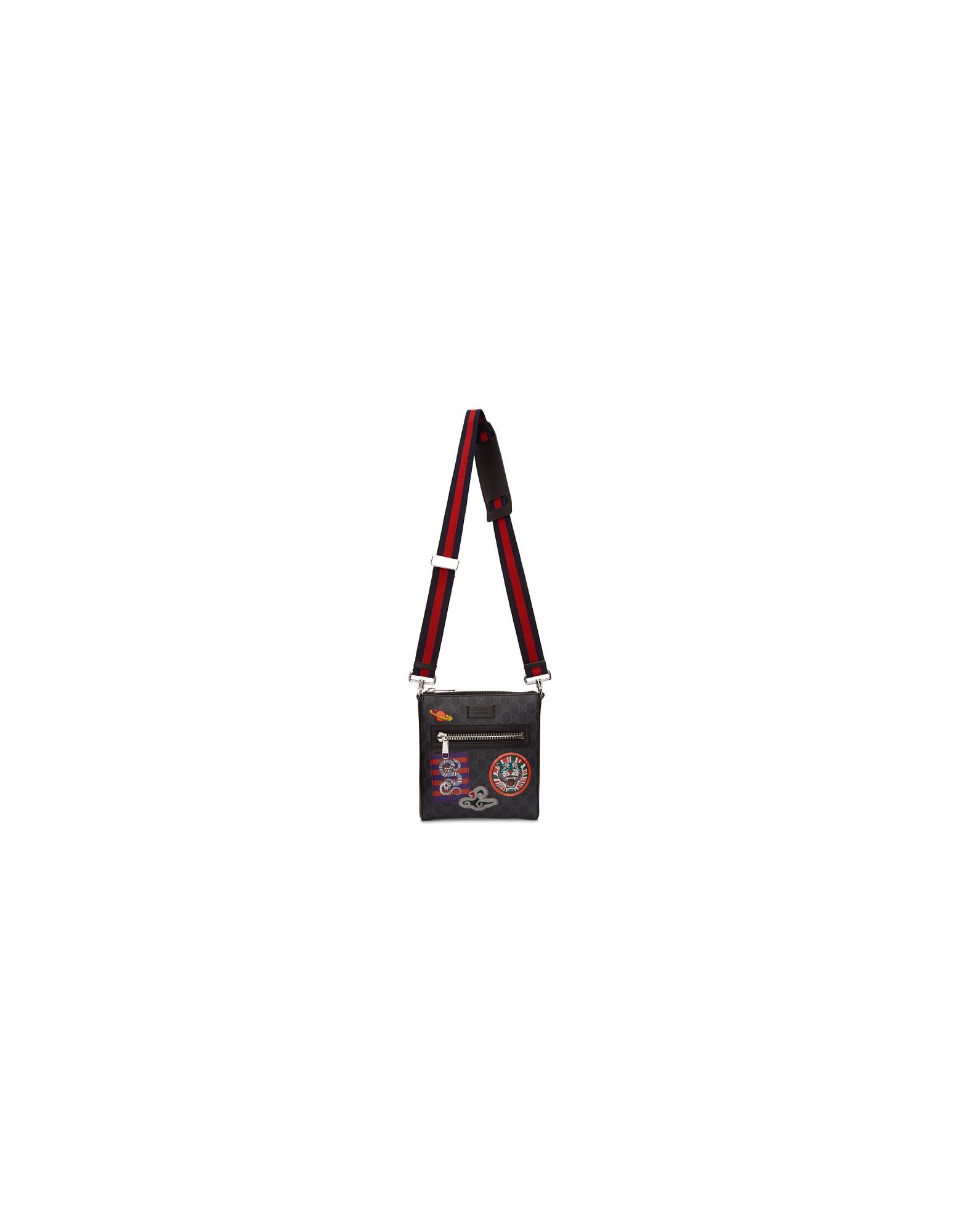 Gucci Designer Men's Bags, Black GG Supreme Courier Messenger Bag