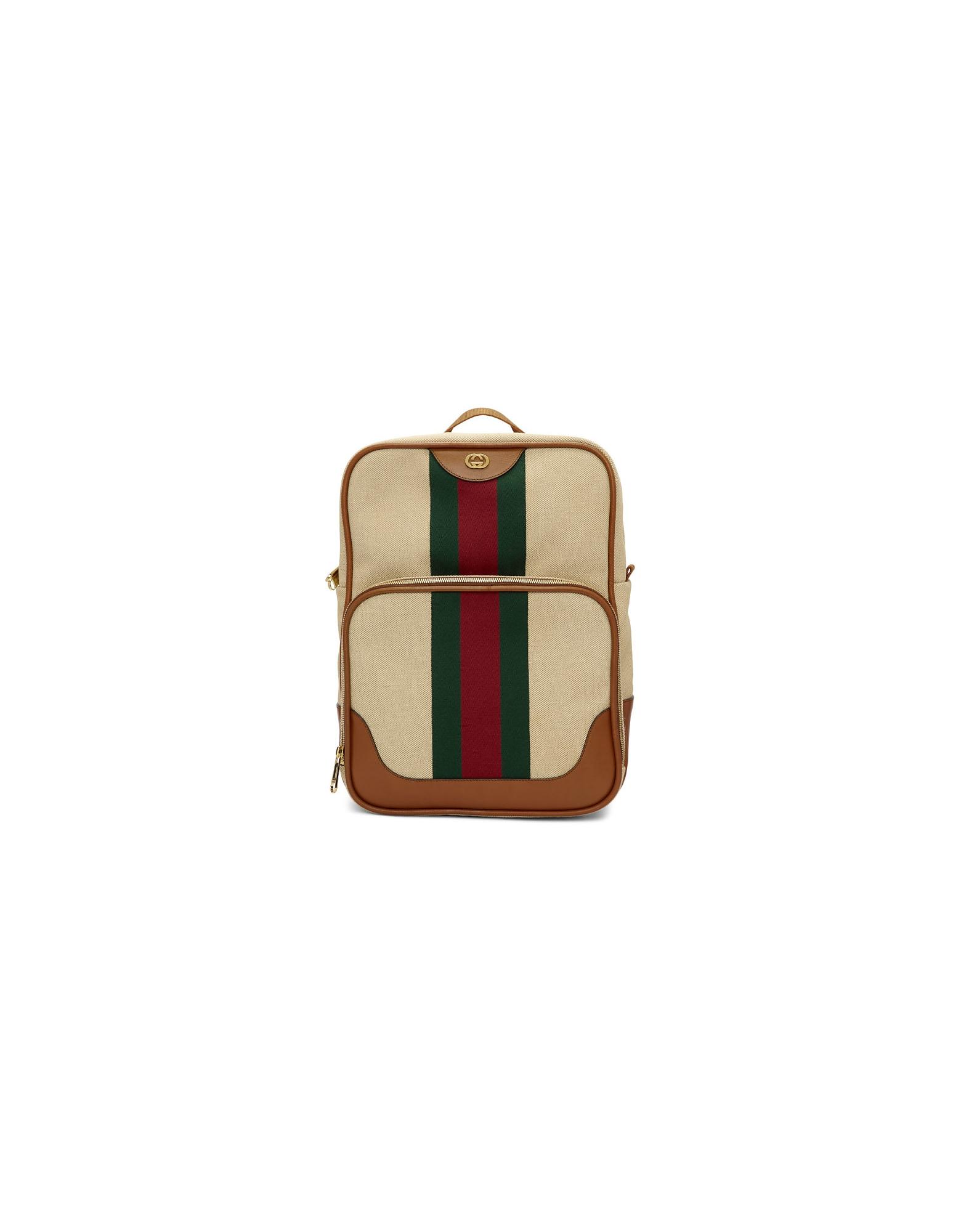 Gucci Designer Men's Bags, Beige Canvas Vintage Backpack