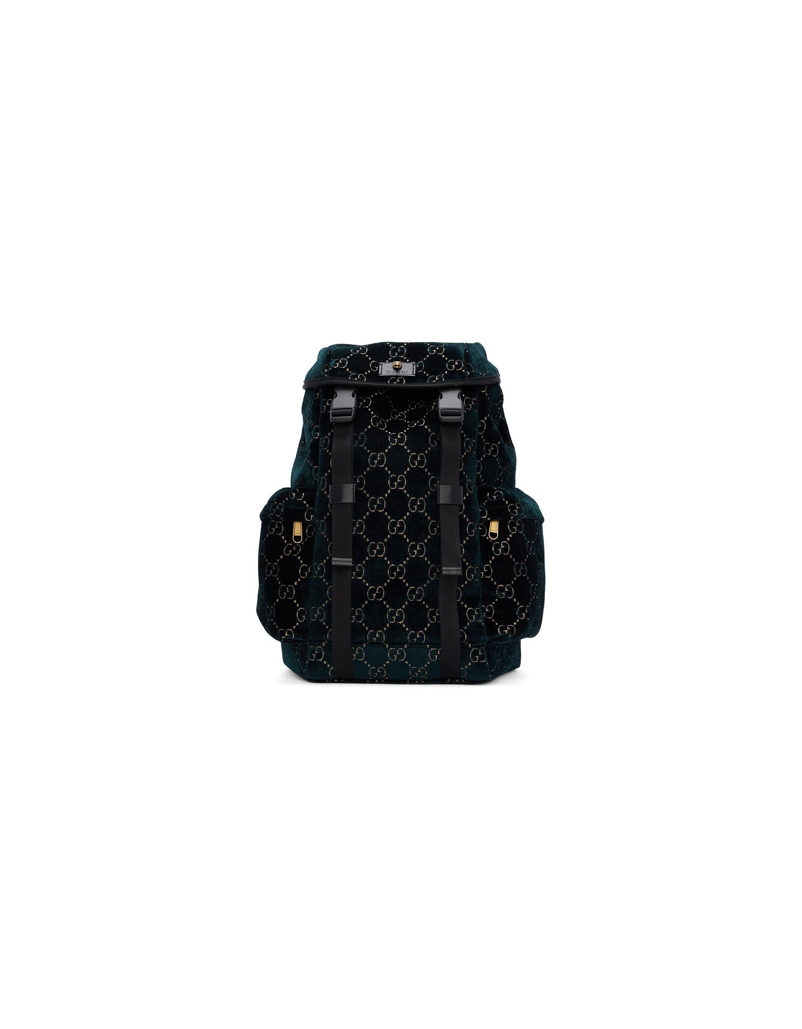 Gucci Designer Men's Bags, Blue Velvet Medium GG Backpack