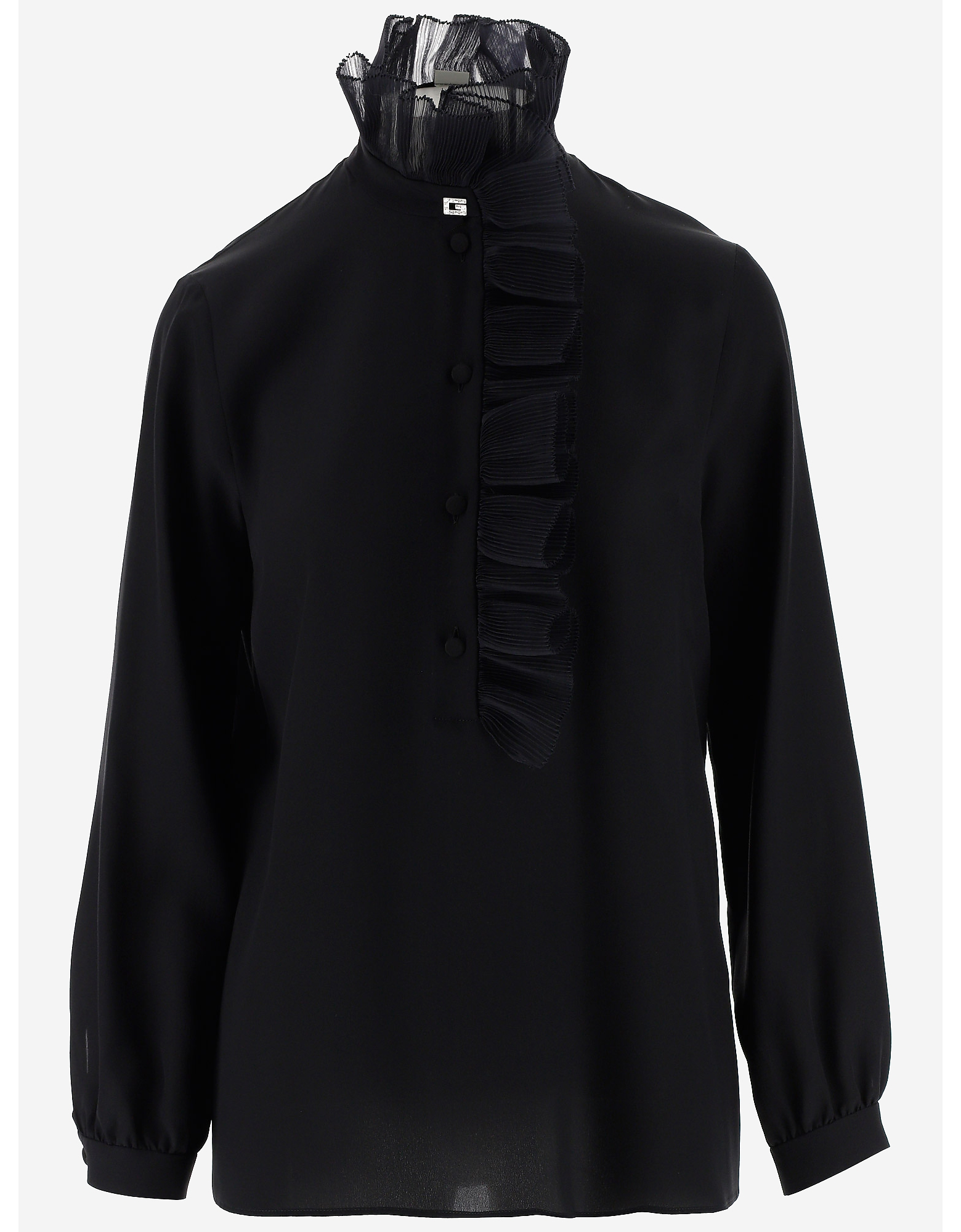 Gucci Designer Shirts, Black Silk Women's Ruffles Shirt