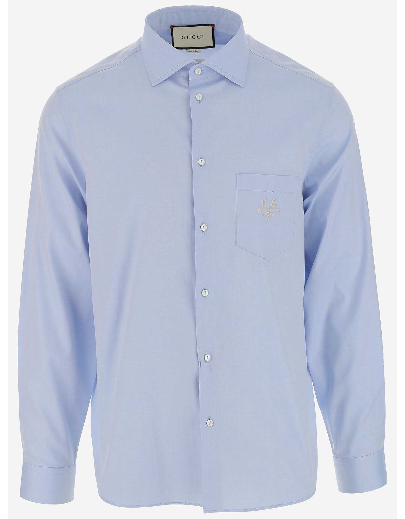 Gucci Designer Shirts, Men's Light Blue Cotton Shirt