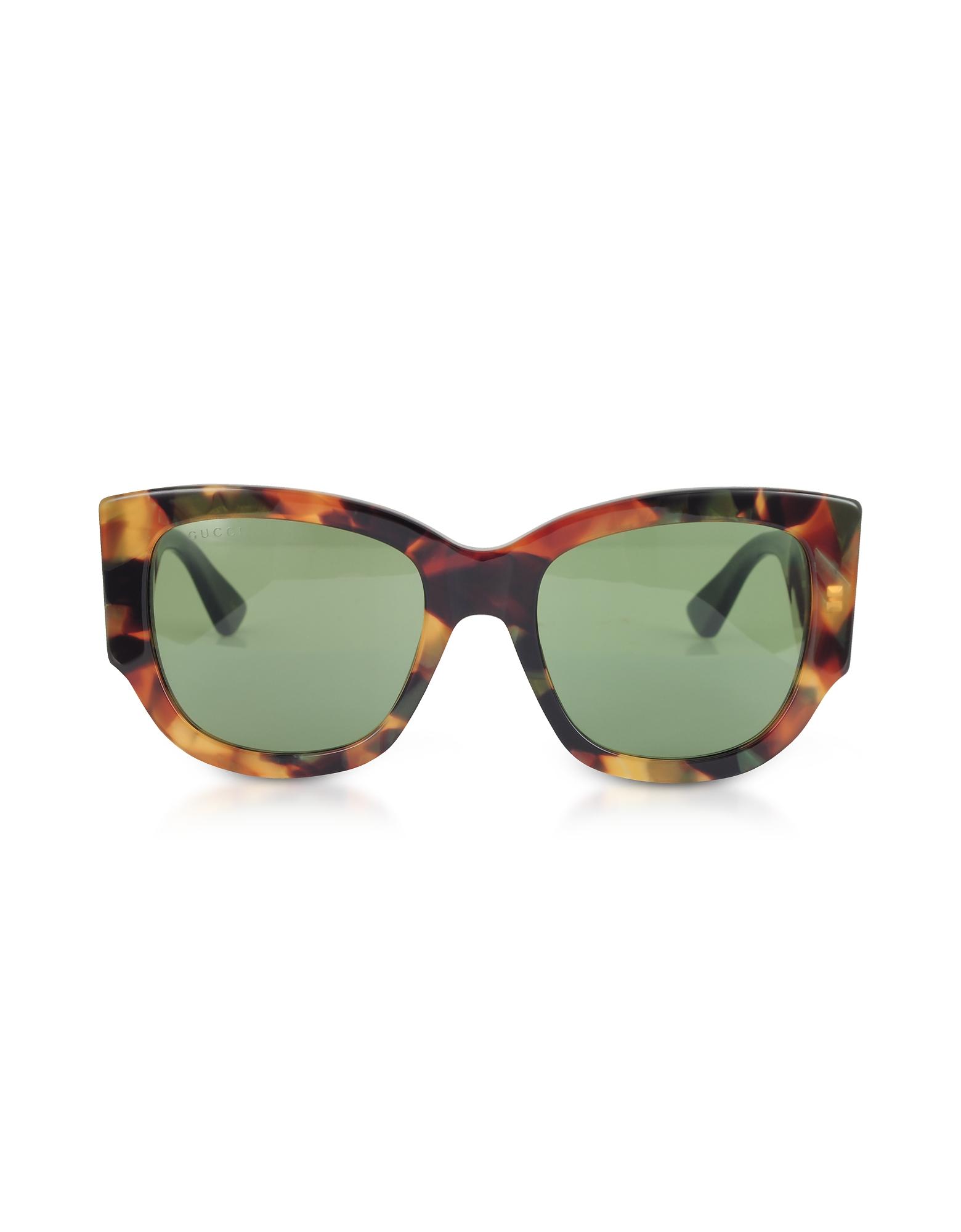 Gucci Designer Sunglasses, GG0276S Dark Tortoiseshell Oversize Cat Eye Acetate Sunglasses w/Sylvie Web Temples