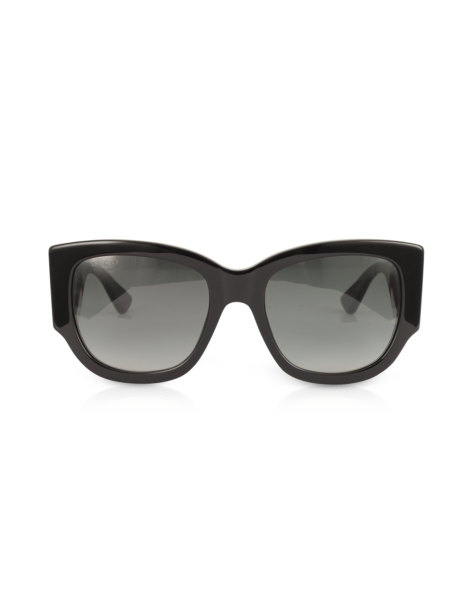 Gucci Designer Sunglasses, GG0276S Black Oversize Cat Eye Acetate Sunglasses w/Sylvie Web Temples