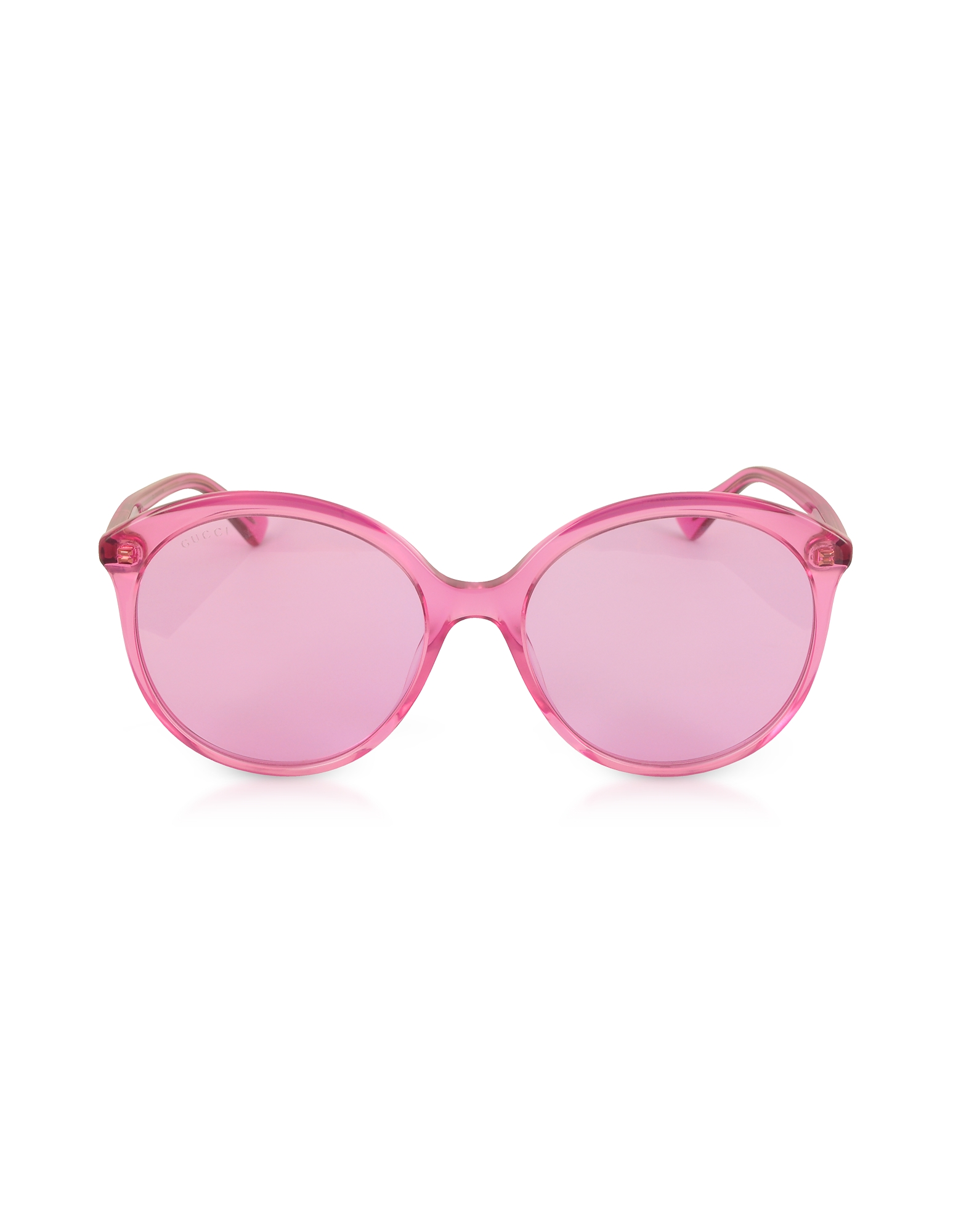 Gucci Sunglasses, GG0257S Specialized Fit Round-frame Transparent Fuchsia Acetate Sunglasses