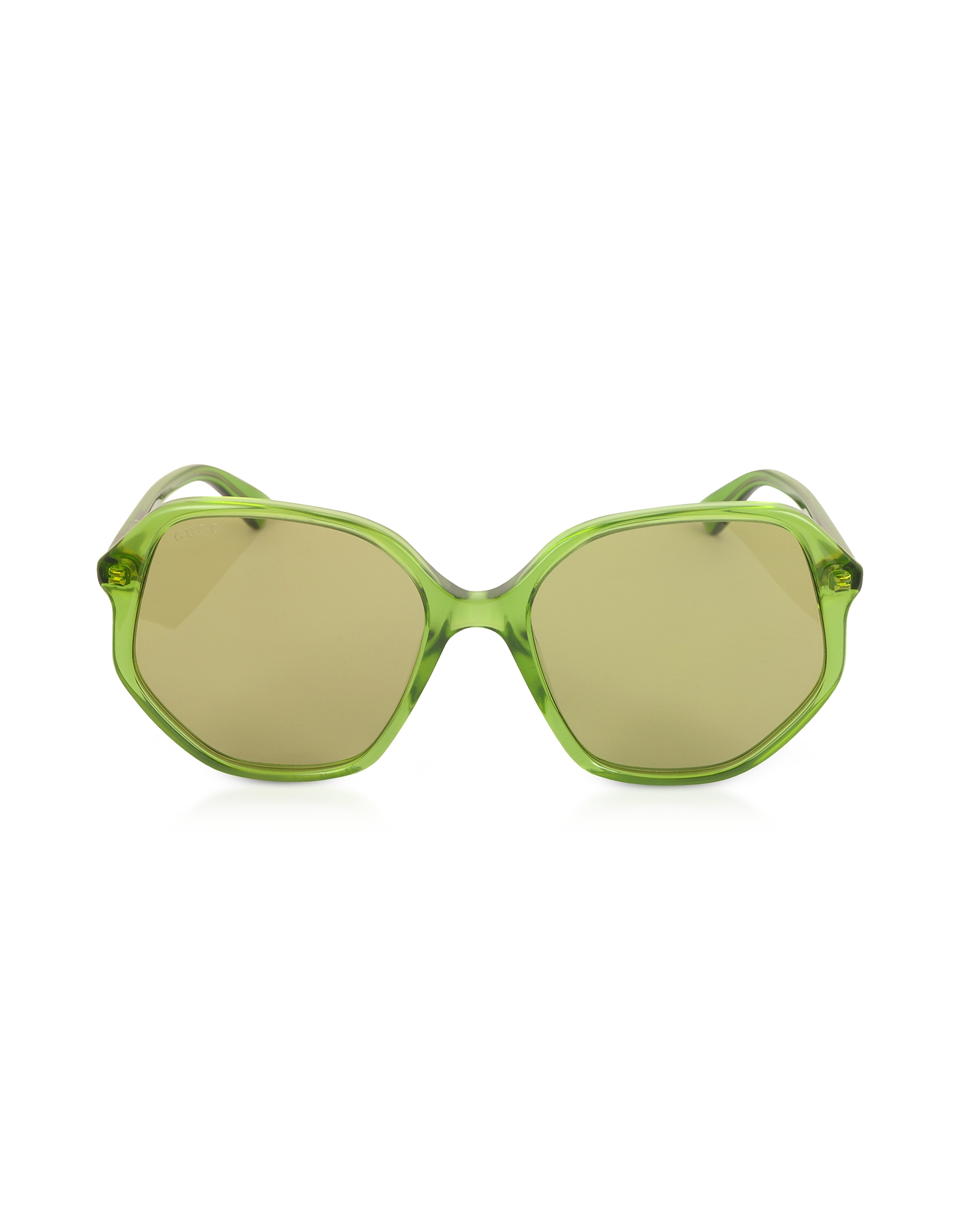 Gucci Designer Sunglasses, GG0258S Geometric-frame Transparent Green Acetate Sunglasses