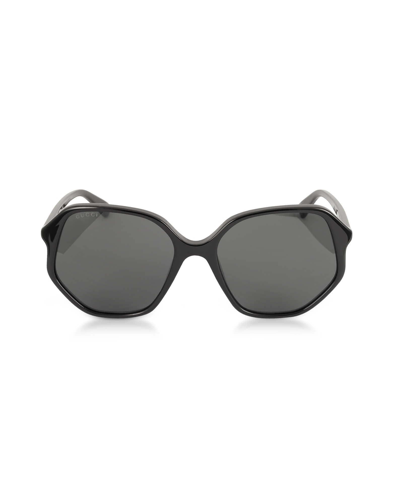 Gucci Designer Sunglasses, GG0258S Geometric-frame Black Acetate Sunglasses