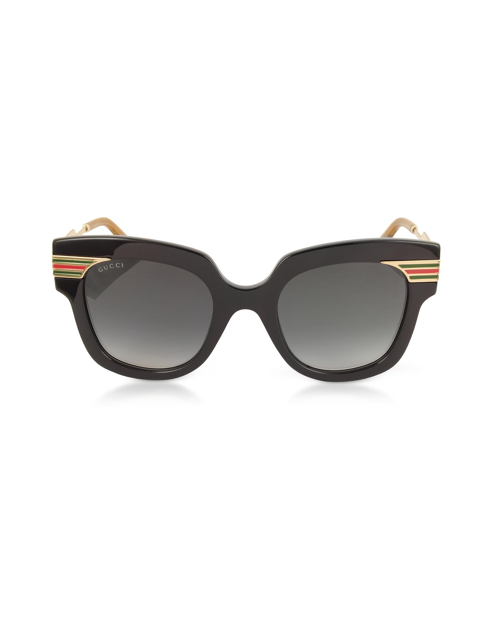 Gucci Designer Sunglasses, GG0281S Square-Frame Black Acetate Sunglasses w/Sylvie Web Temples