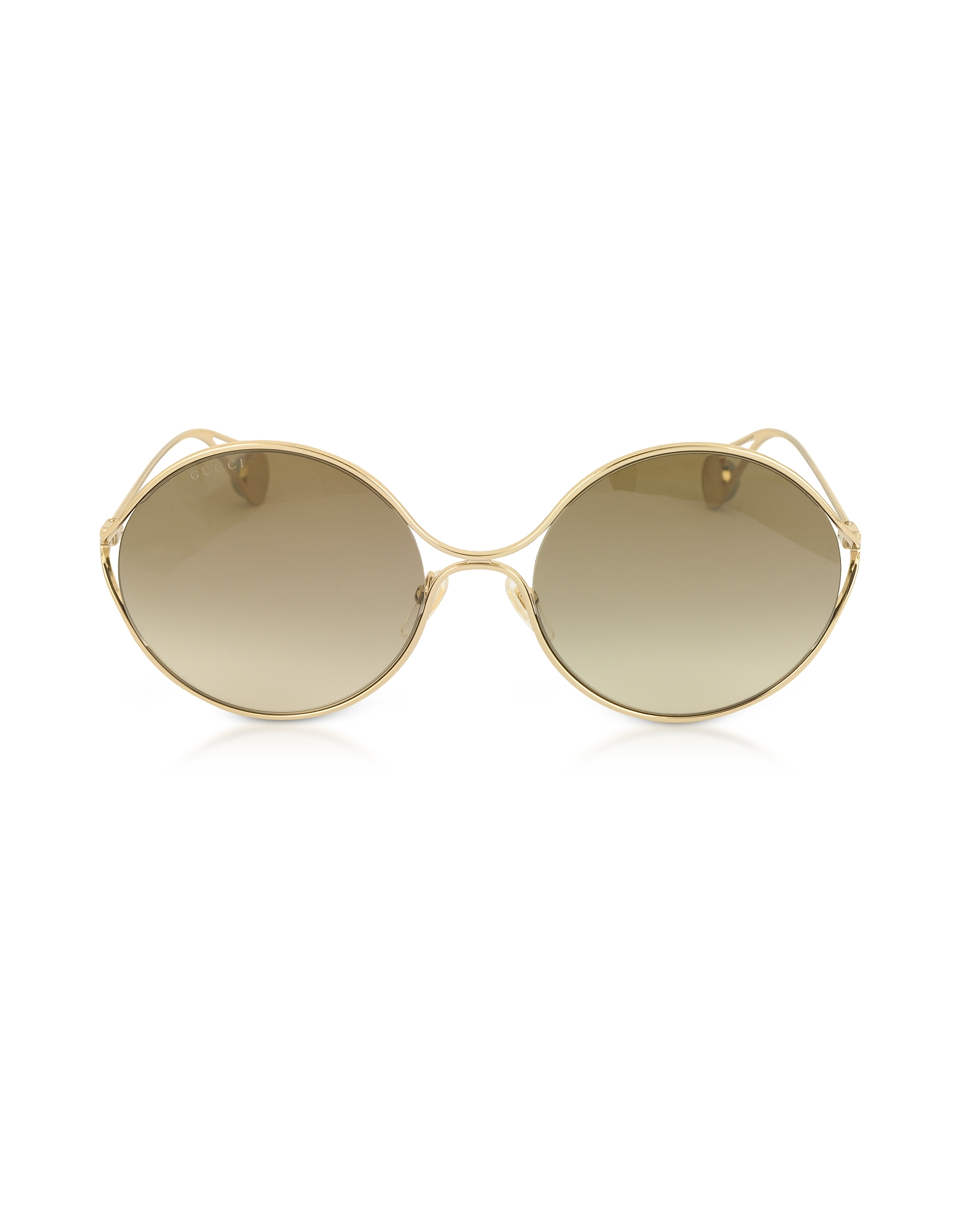 Gucci Sunglasses, GG0253S Round-frame Metal Sunglasses w/GG Pearls