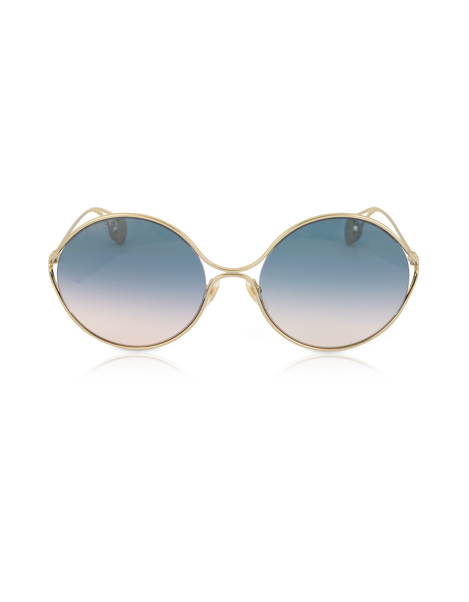 Gucci Sunglasses, GG0253S Round-frame Metal Sunglasses w/GG Pearls