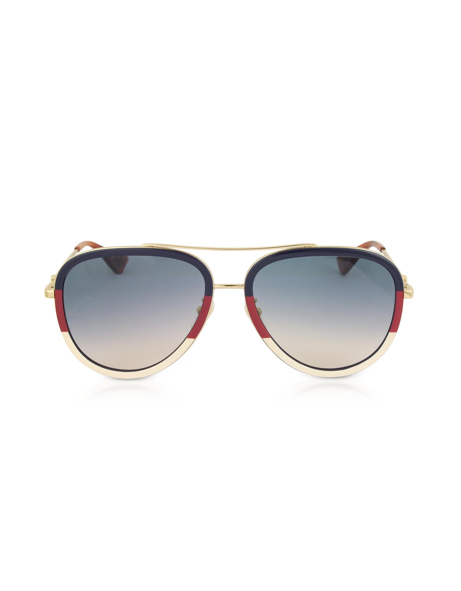 GG0062S Aviator Gold Metal Sunglasses