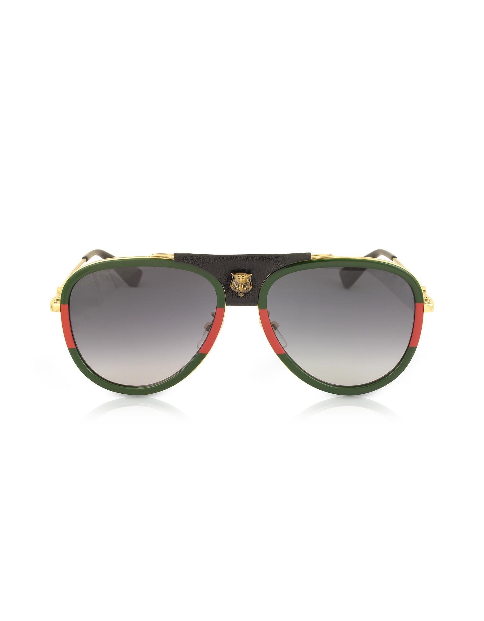 Gucci Designer Sunglasses, GG0062S Aviator Gold Metal and Black Leather Sunglasses