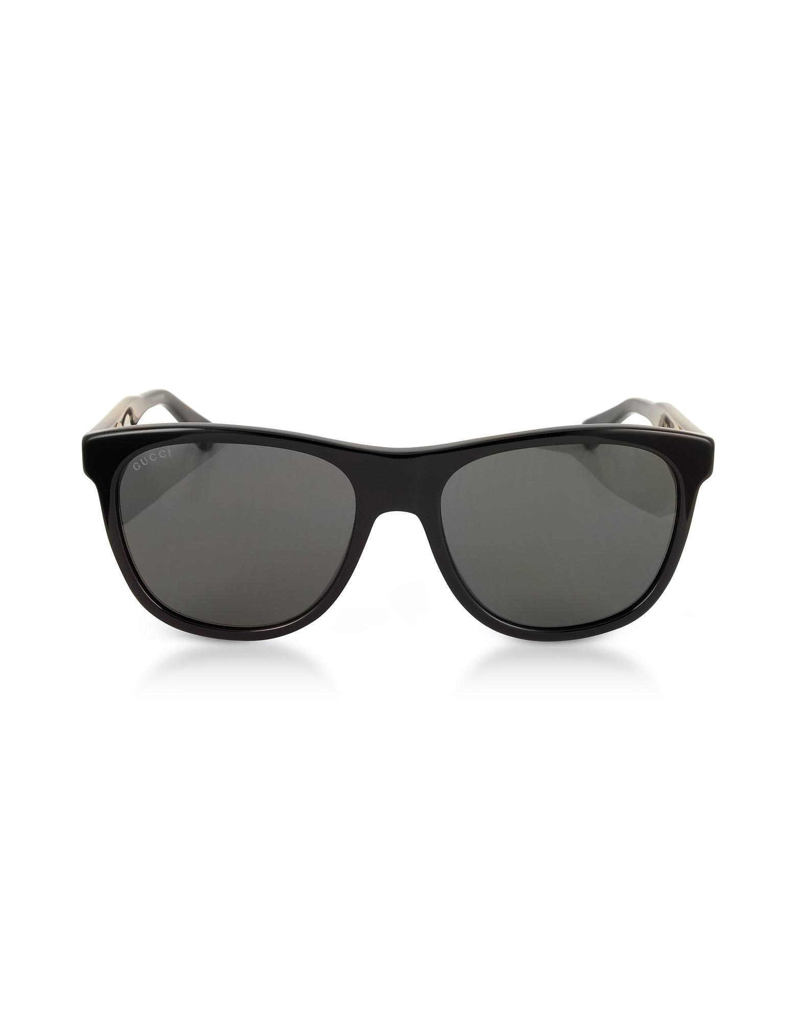 Gucci Sunglasses, GG0266S Squared-frame Black Sunglasses w/Polarized Lenses
