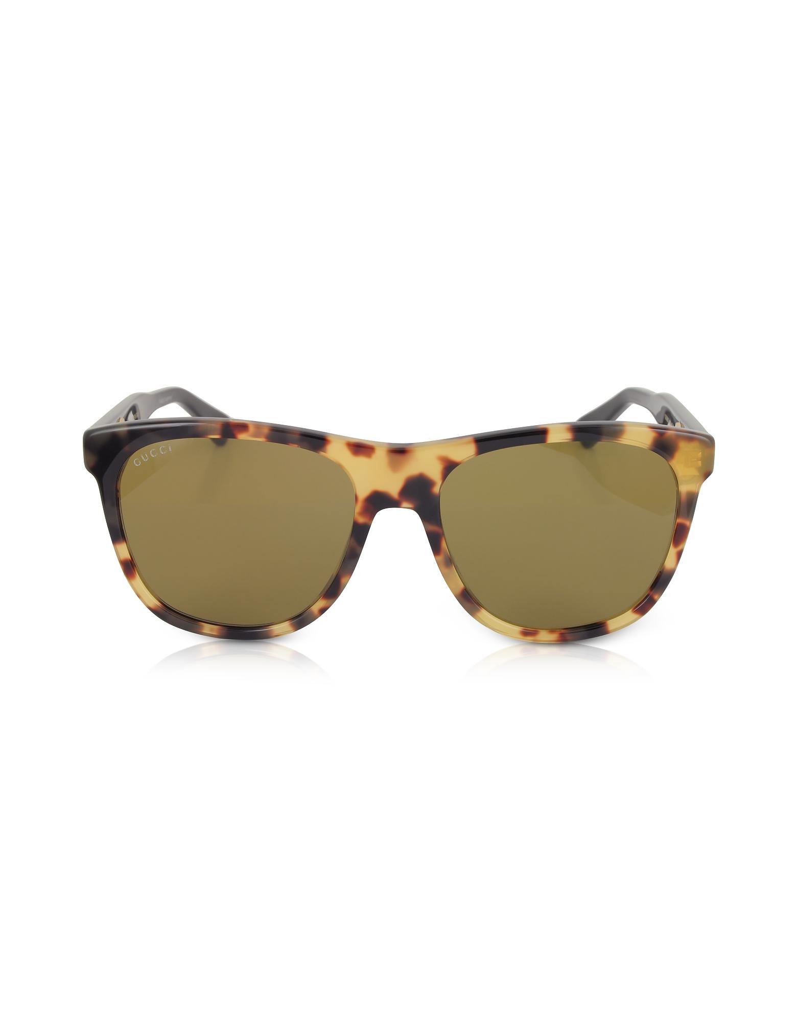 GG0266S Squared-frame Havana Brown Sunglasses w/Polarized Lenses