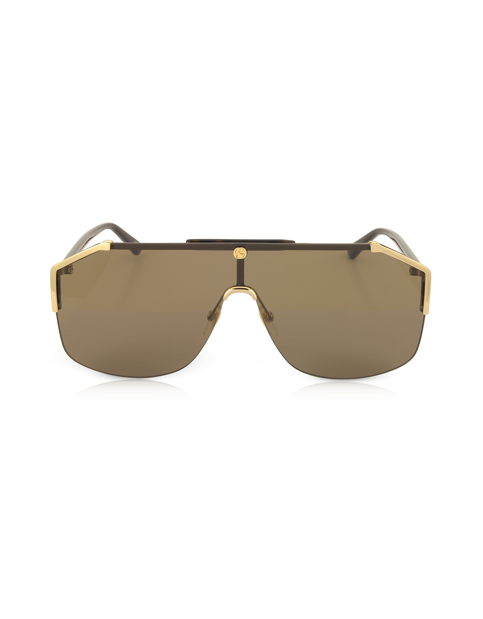 Gucci Designer Sunglasses, GG0291S Rectangular-frame Gold Metal Sunglasses