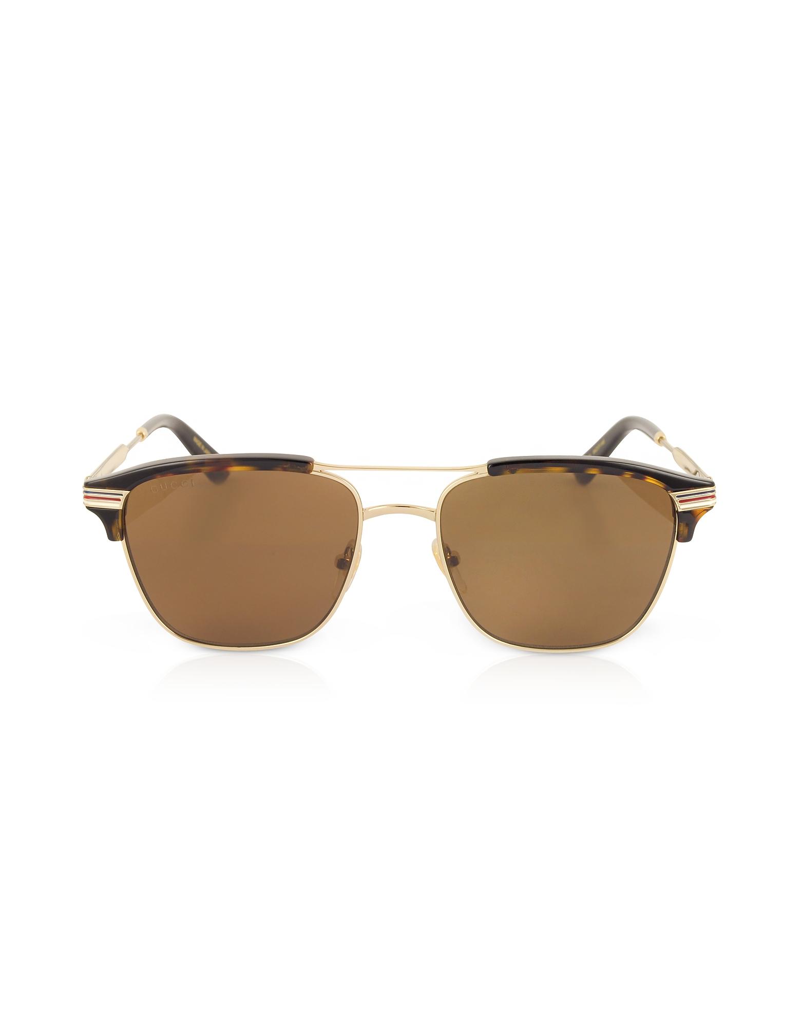 Gucci Designer Sunglasses, GG0241S 002 Square-frame Metal Sunglasses