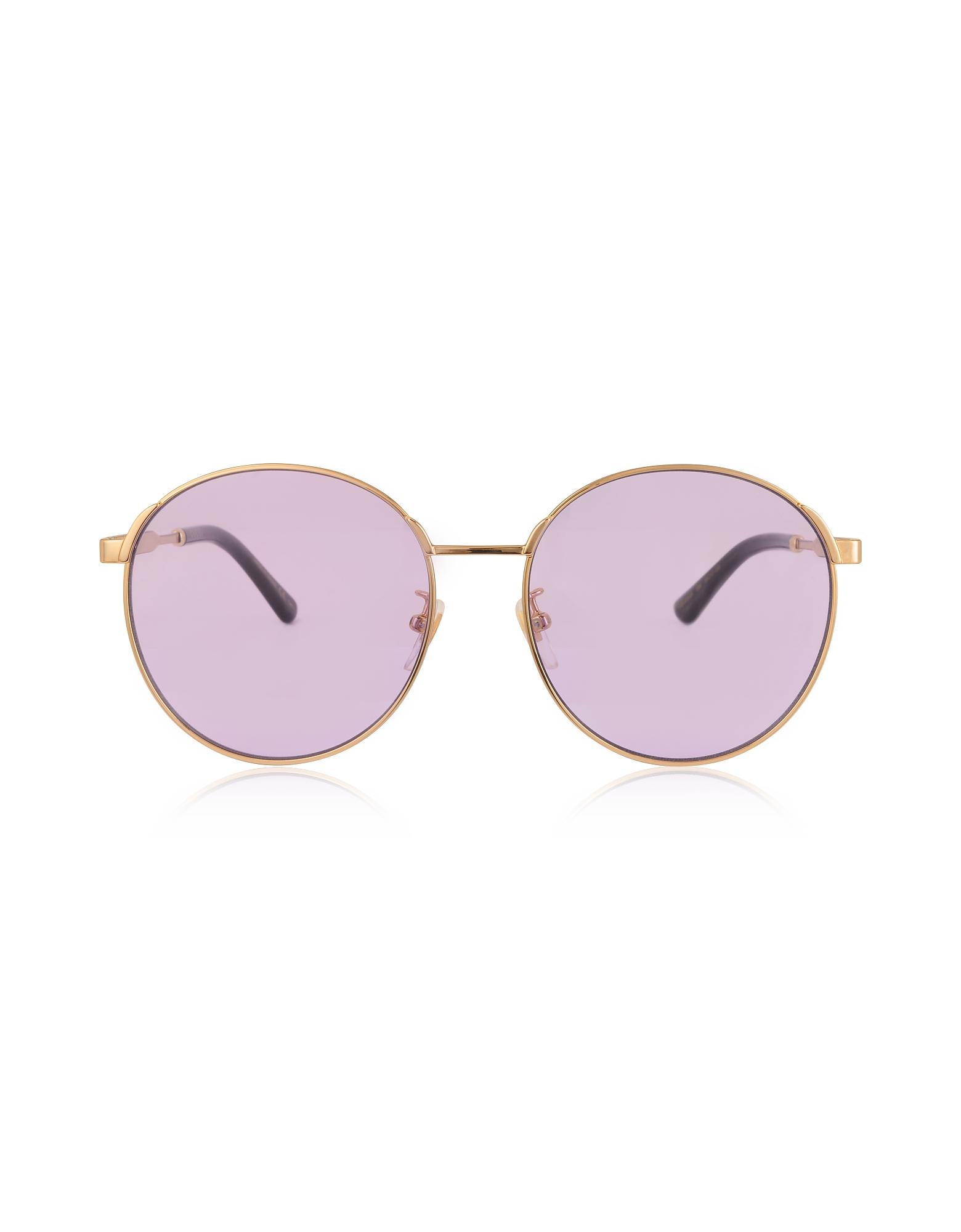Gucci Designer Sunglasses, GG0206SK 006 Round-frame Metal Sunglasses