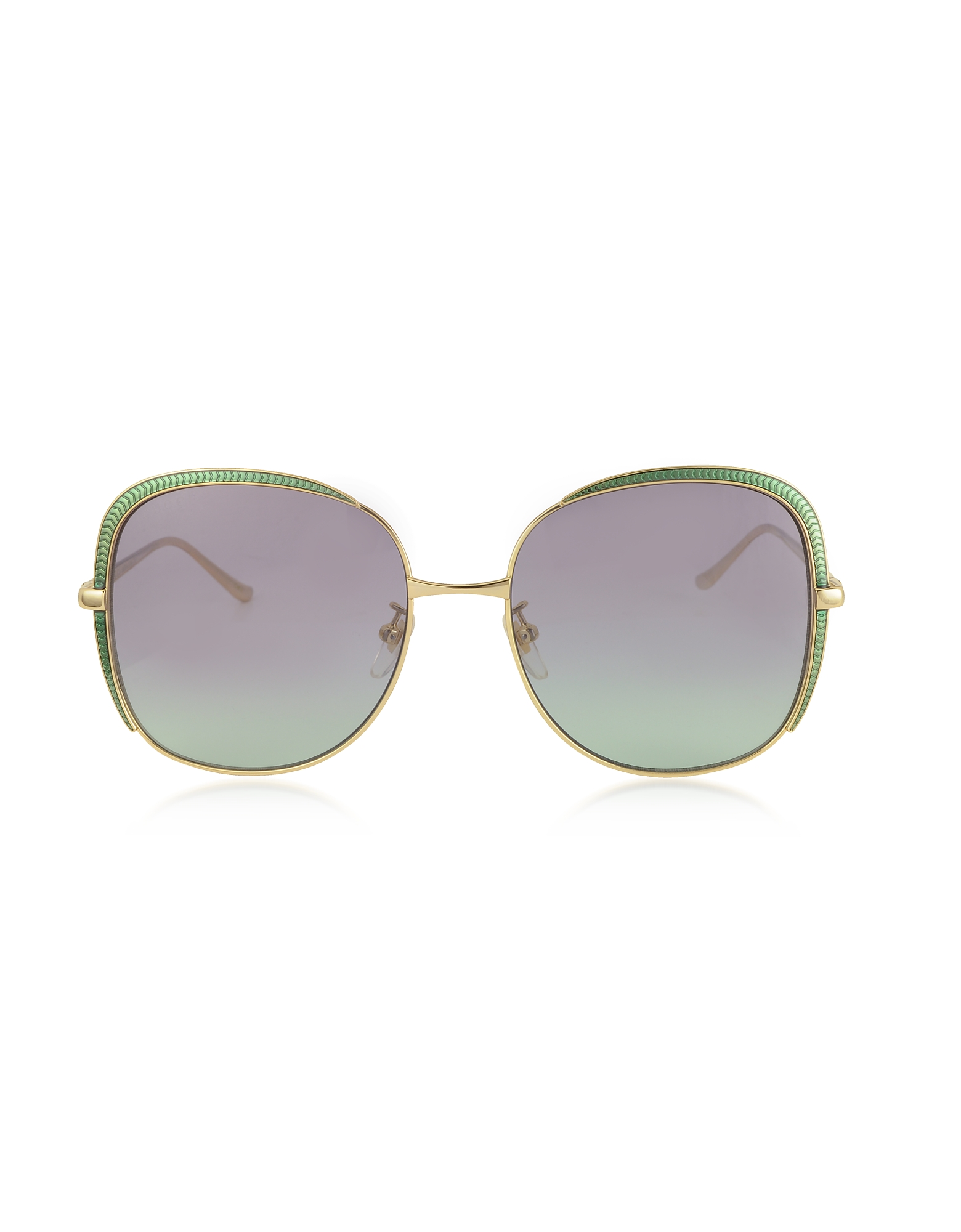 Gucci Designer Sunglasses, GG0400S Shiny Gold Guilloché Metal Frame Sunglasses