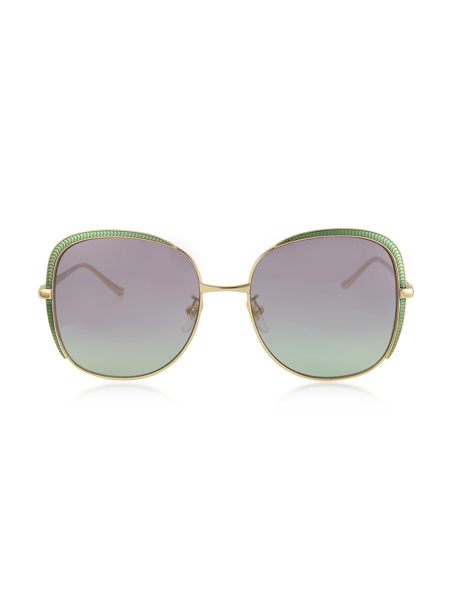 Gucci Designer Sunglasses, GG0400S Shiny Gold Guilloché Metal Frame Sunglasses