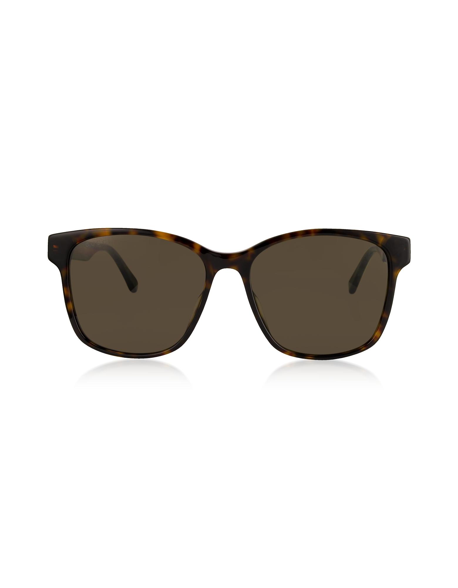Gucci Sunglasses, Rectangular-frame Tortoise Acetate Sunglasses w/Web Temples