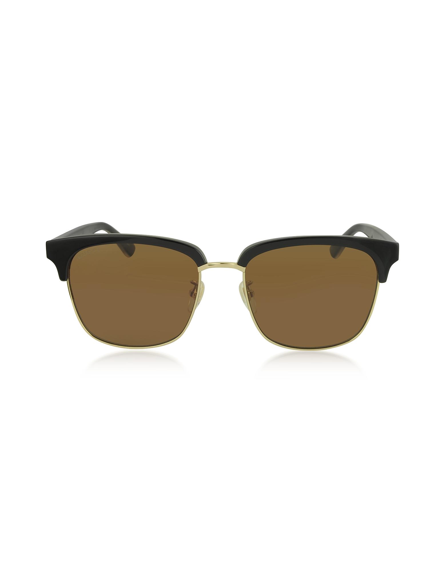 Gucci Designer Sunglasses, Rectangular-frame Metal Sunglasses
